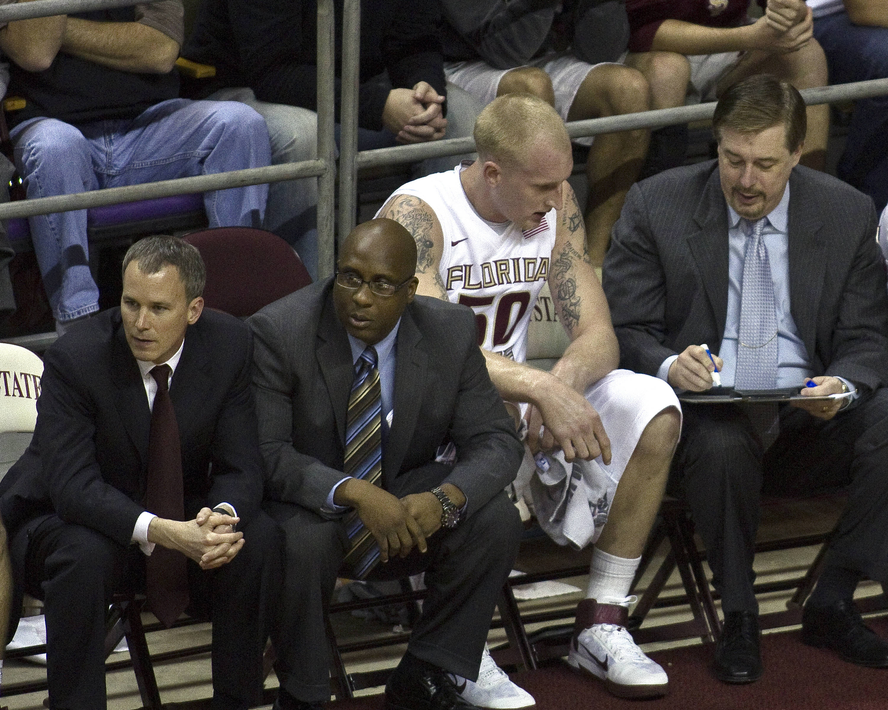FSU vs Virginia- 02//12/11 - Coach Andy Enfield, Coach Corey Williams, Jon Kreft (50), Coach Stan Jones