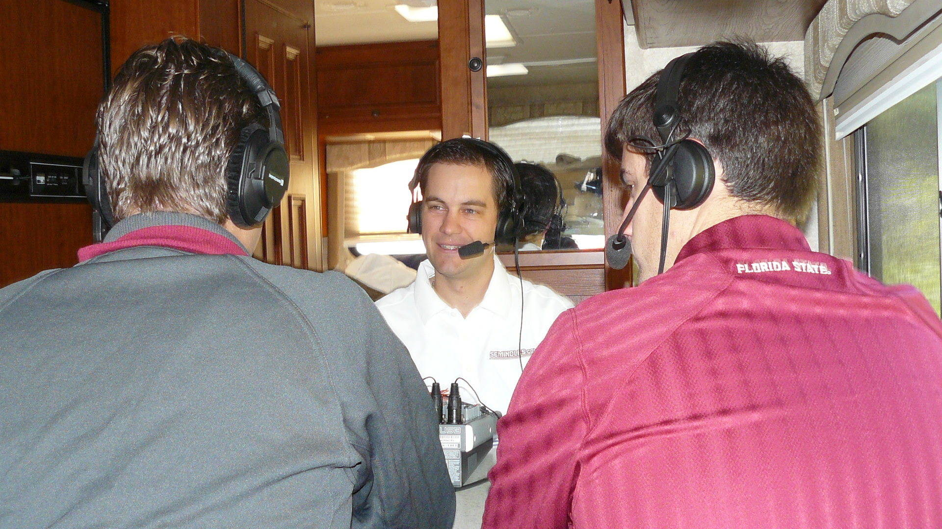 The Road Warriors recording the Doak Insider Podcast on the road to Virginia.