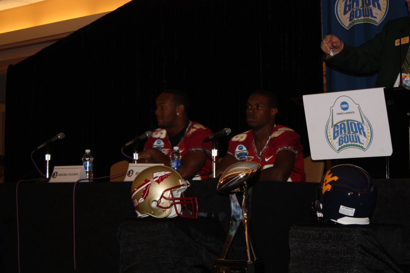 Rod Owens, and Dekoda Watson at the Gator Bowl coaches and players press conference at the Hyatt in Jacksonville.