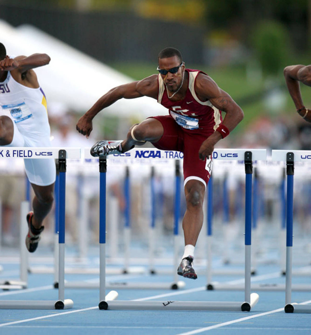 Drew Brunson moved on in the 110m hurdles