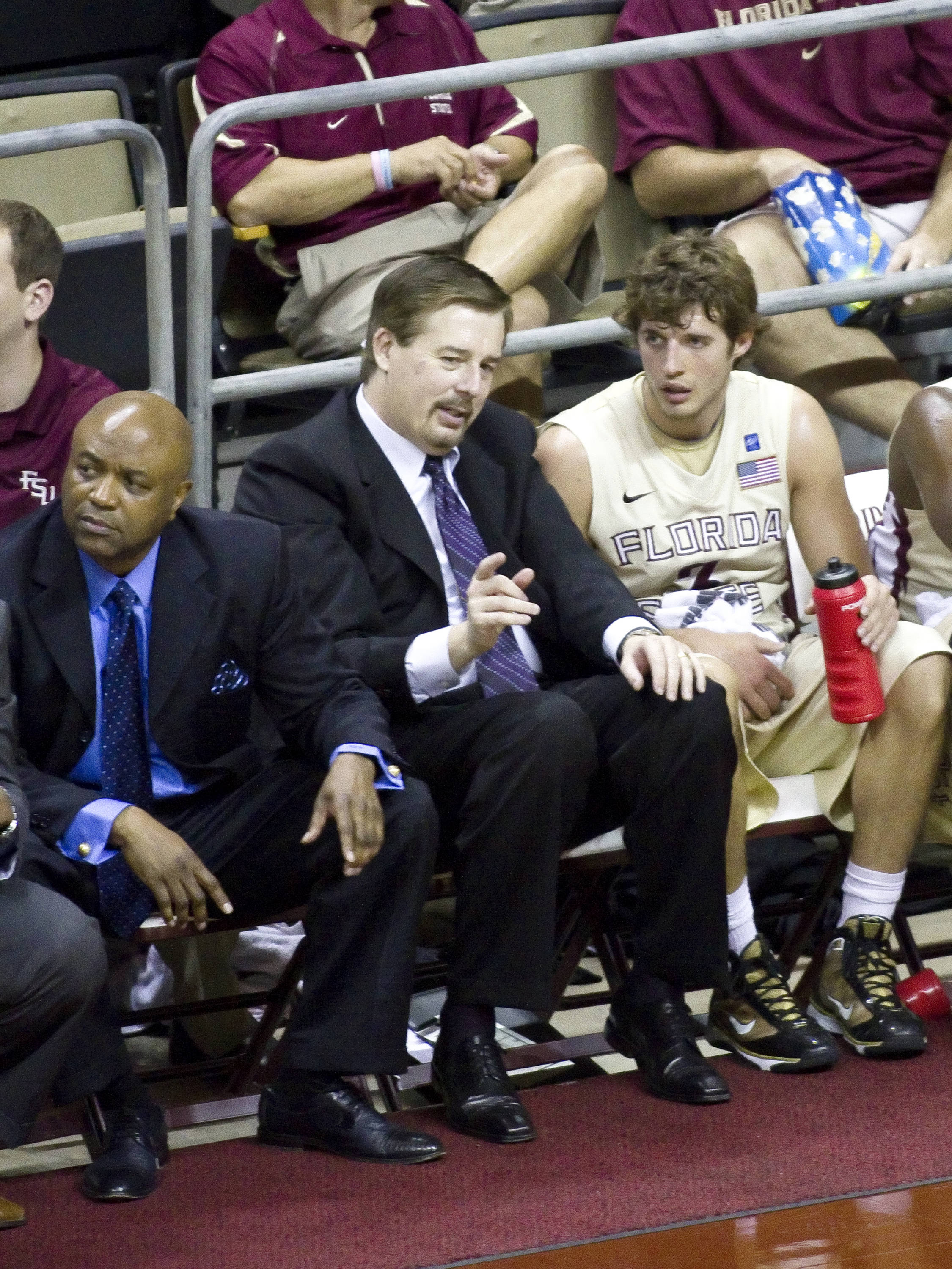Associate Coach Stan Jones, Head Coach Leonard Hamilton, Luke Loucks (4), FSU vs So. Alabama, 11/20/2011