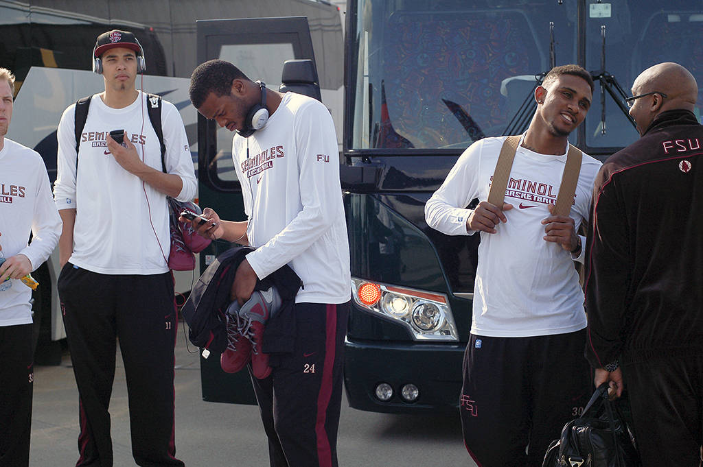 The team gets ready to load the buses in Nashville.