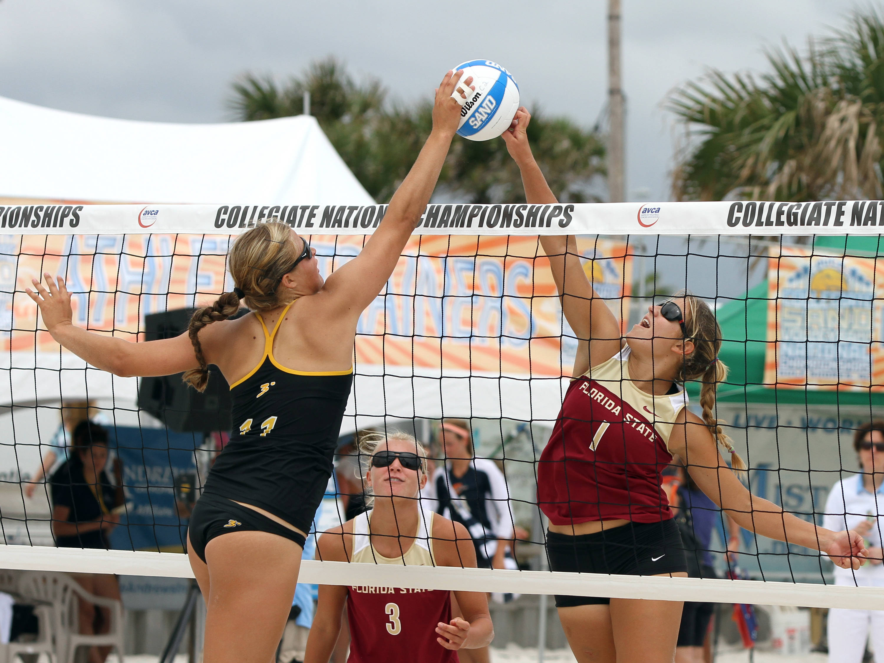 Melanie Pavels (1), AVCA Collegiate Sand Volleyball National Championships,  Gulf Shores, Alabama,05/03/13 . (Photo by Steve Musco)