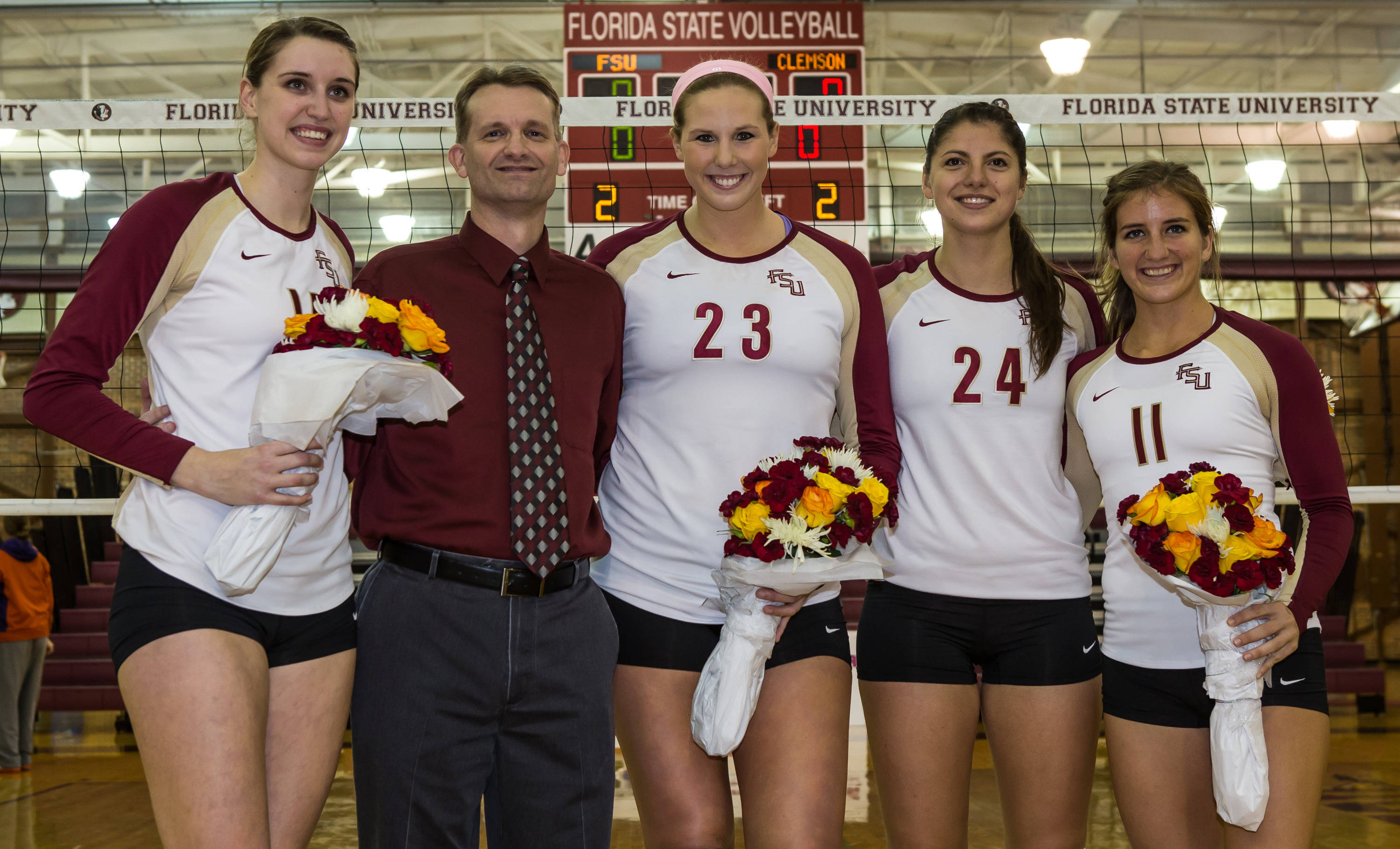 Senior Day honoring Ashley Neff (14), Chris Poole, Elise Walch (23), Olivera Medic (24), Aurora Davis (11)