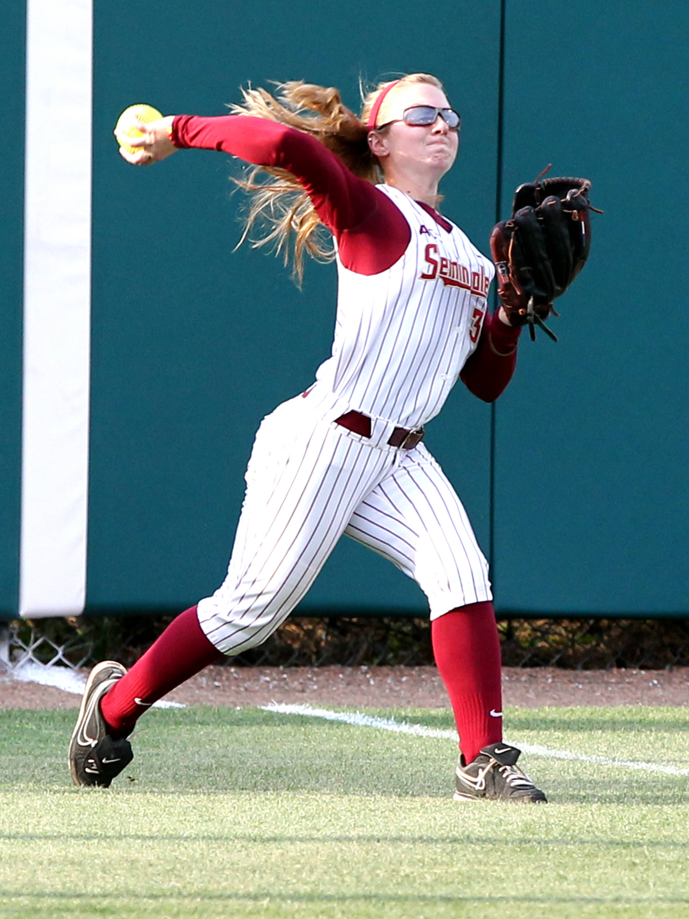 Kirstin Austin, FSU vs FLA, 04/17/13 . (Photo by Steve Musco)