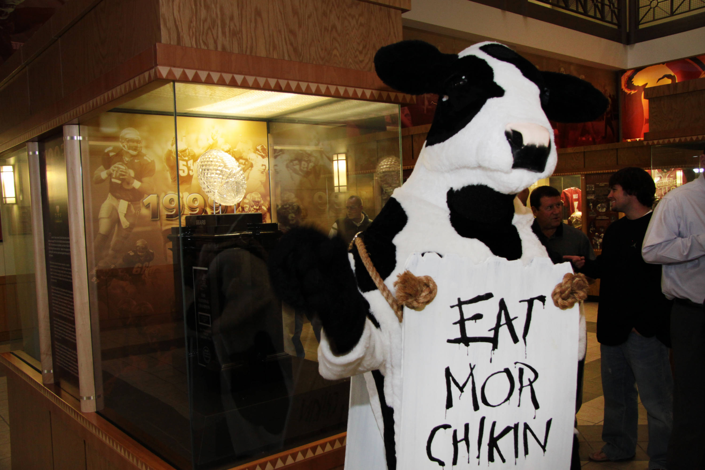 Even the Chick-fil-A cow is excited for the Seminoles to play in Atlanta, Ga.