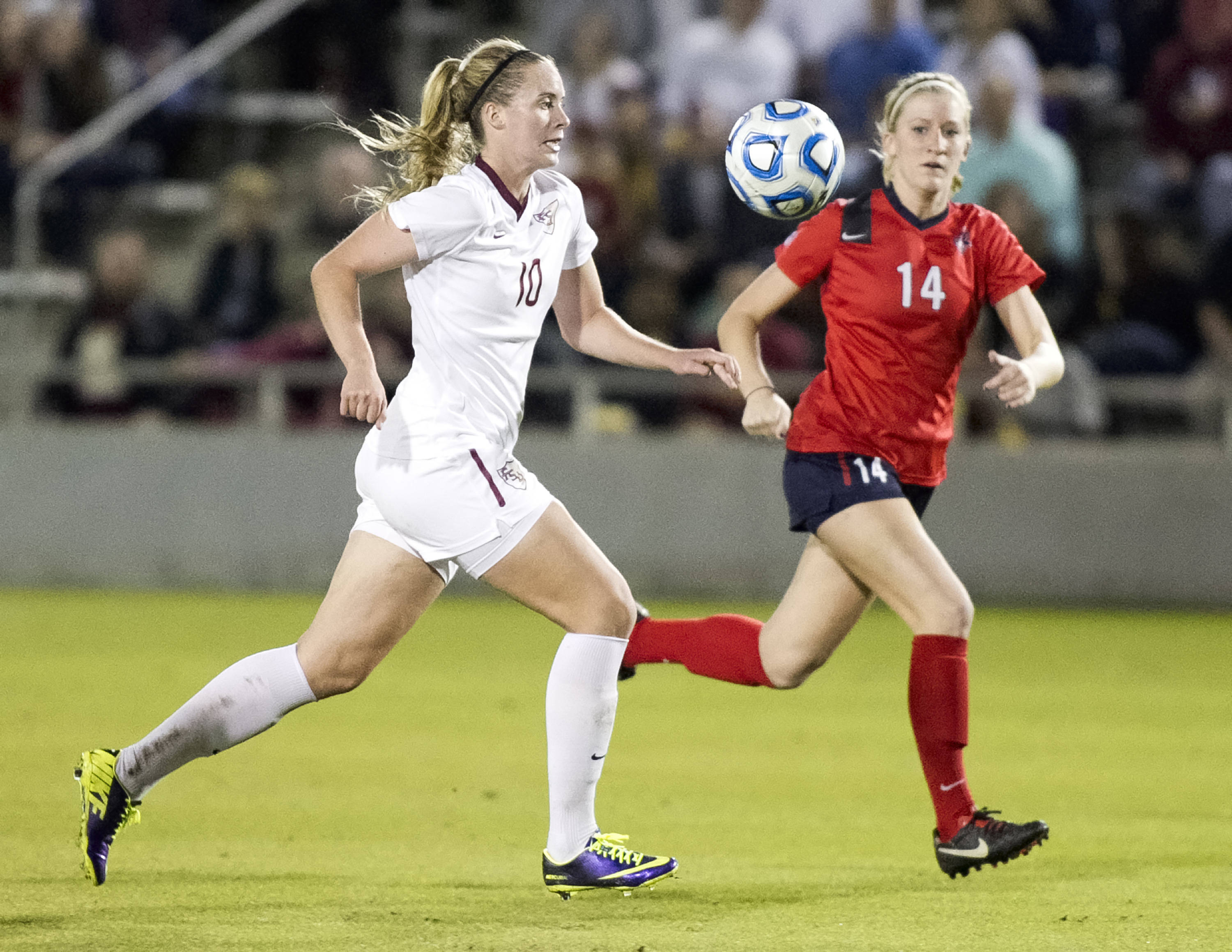 Berglind Thorvaldsdottir (10), FSU vs Ole Miss, 11-17-13, 2nd round NCAA Tournament (Photo by Steve Musco)