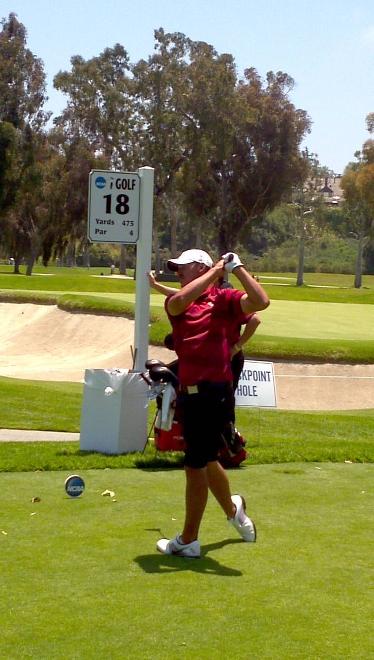 Brooks Koepka tees off on the final hole of the first round in the 2012 NCAA Division I Men's Golf Championships.