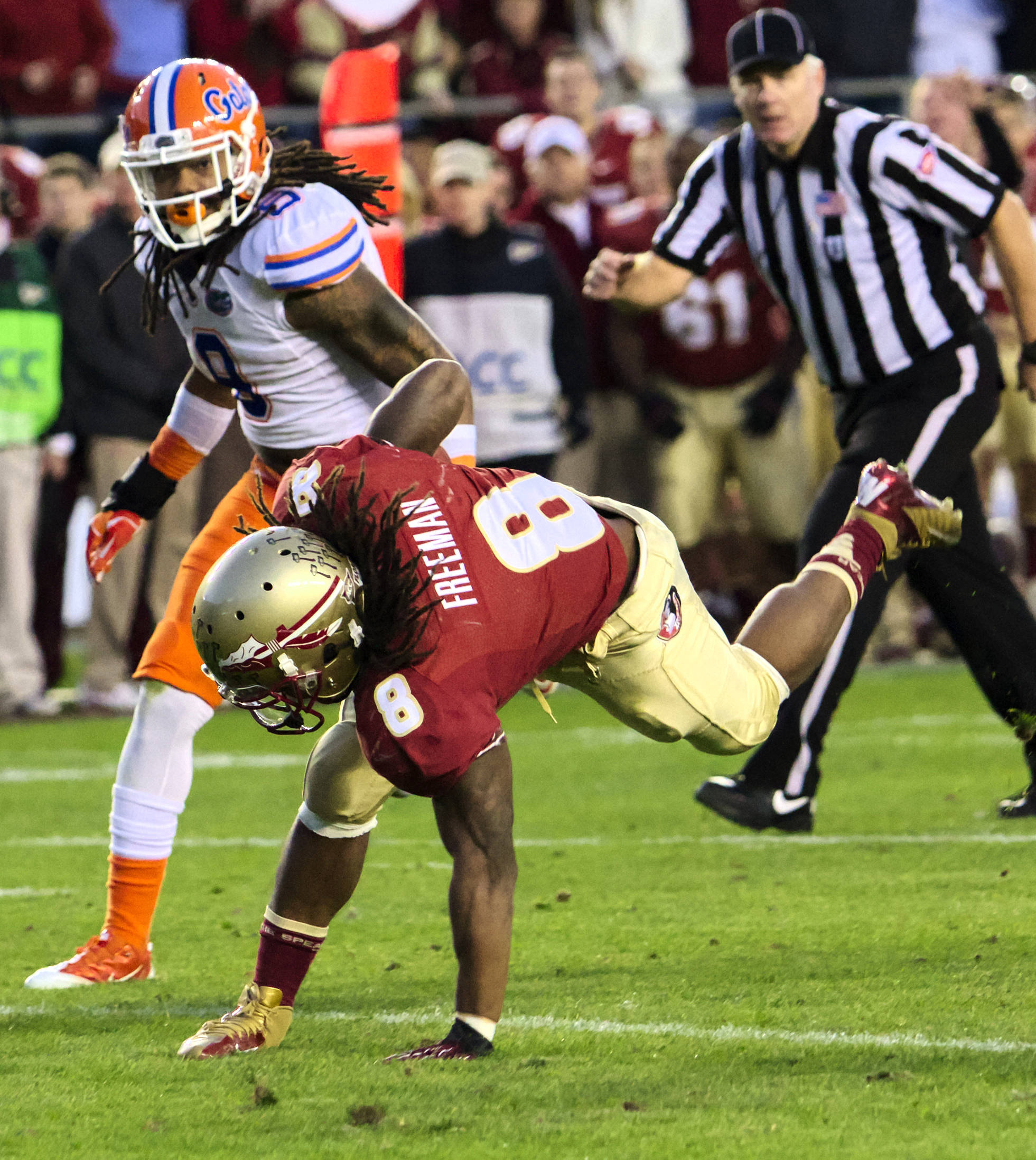 Devonta Freeman (8), FSU vs Florida, 11/24/12. (Photo by Steve Musco)