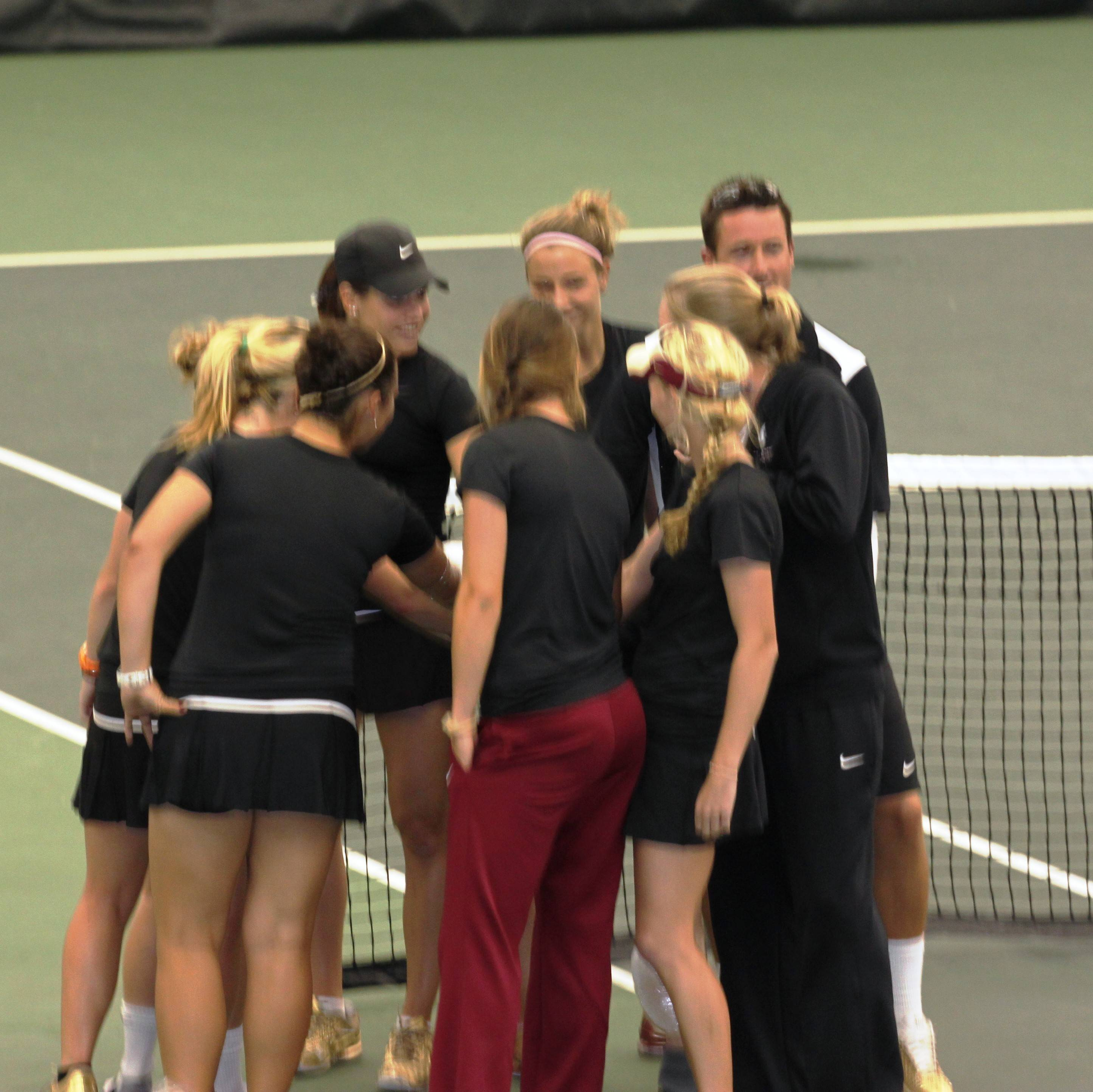 One final team huddle after the match.
