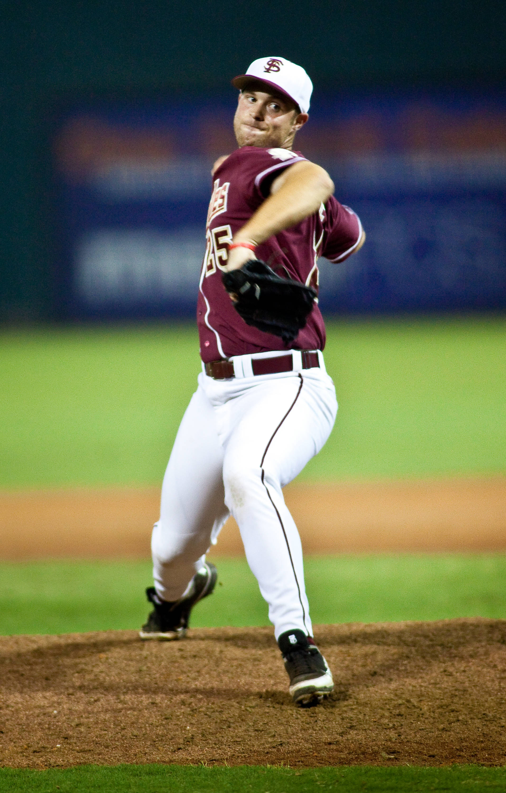 Mike McGee (25) shuts the door on the Gators in the 9th inning