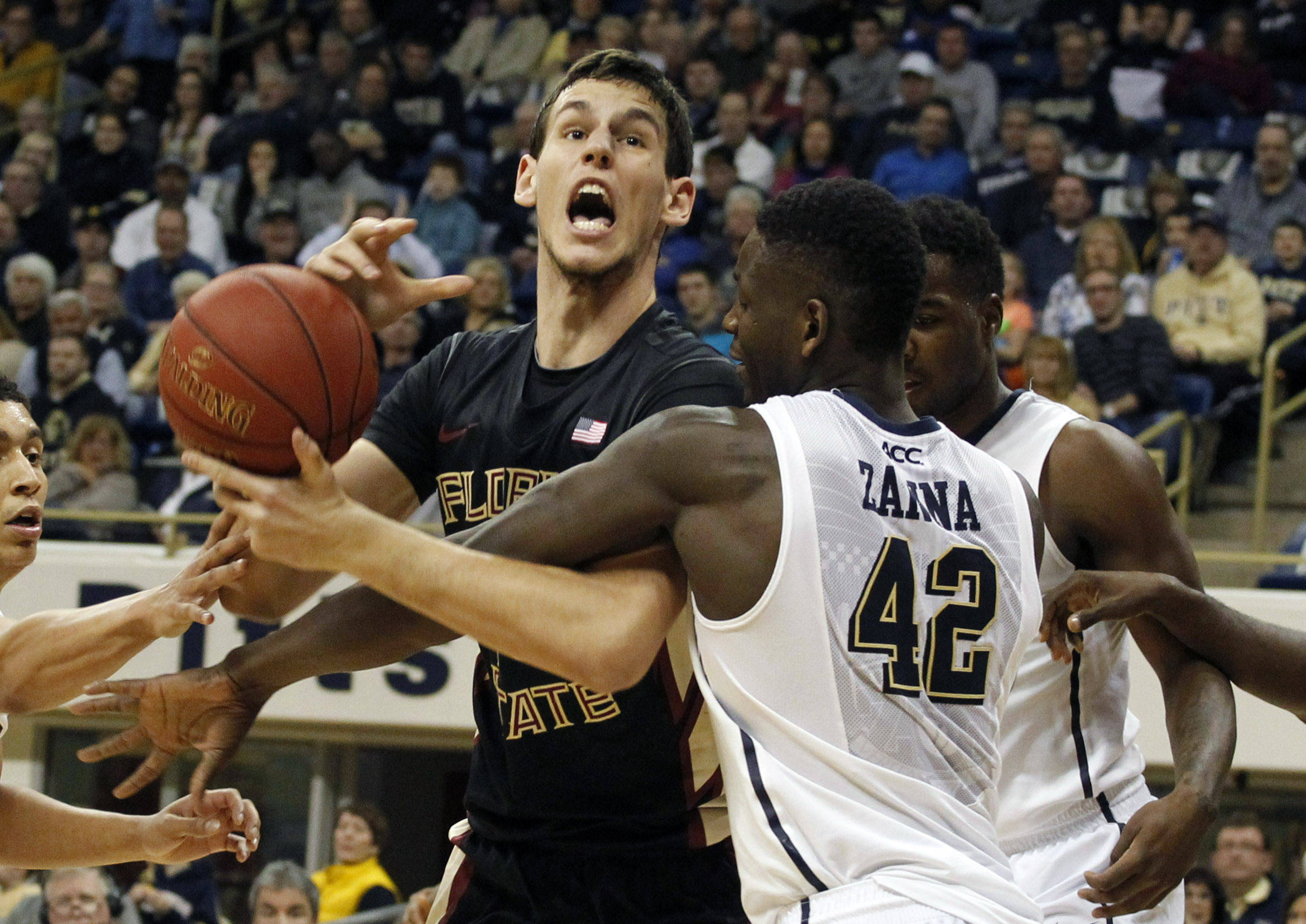 Florida State Seminoles center Boris Bojanovsky (left) reacts as he is fouled by Pittsburgh Panthers forward Talib Zanna (42) during the second half. (Charles LeClaire-USA TODAY Sports)