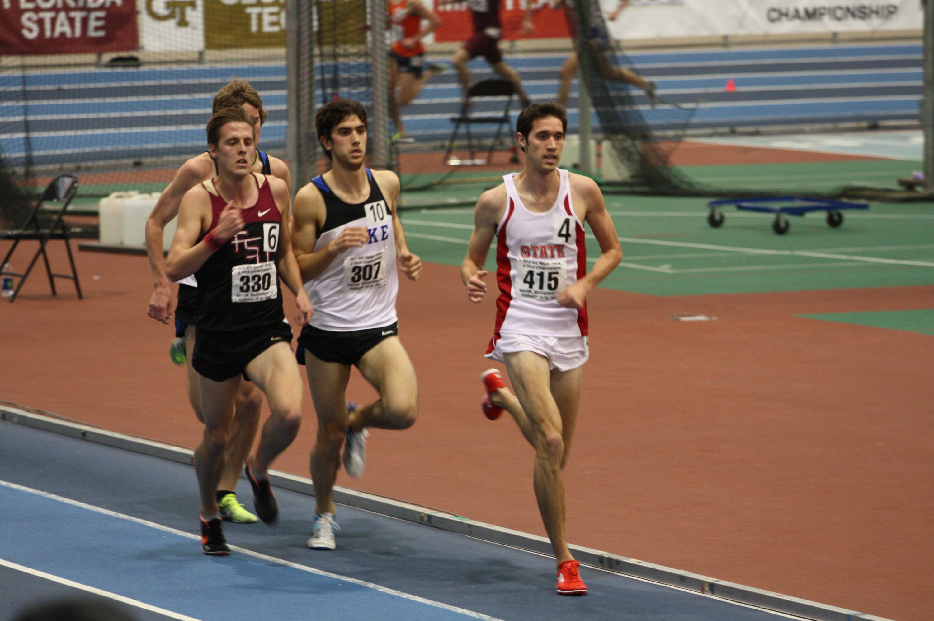 David Forrester makes his late play for second place in the 3000m run, breaking the old ACC meet record in the process.