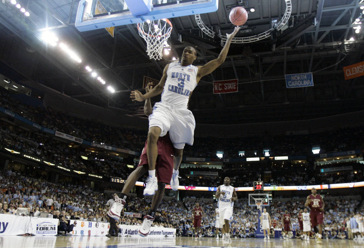 North Carolina's Reyshawn Terry (3) leaps for a lay up during a second round game of the Men's Atlantic Coast Conference basketball tournament against Florida State in Tampa, Fla., Friday, March 9, 2007. (AP Photo/David J. Phillip)