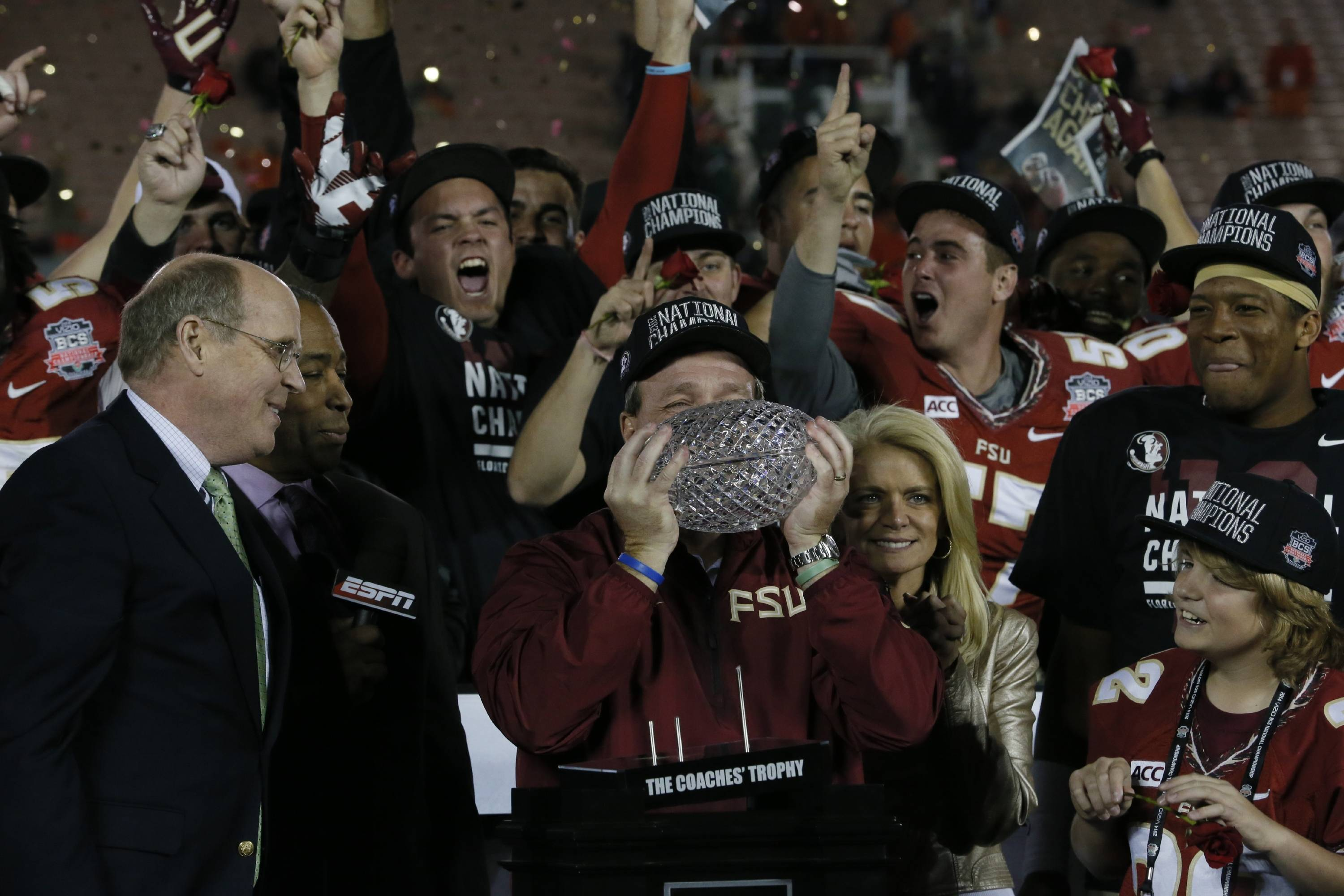 Jimbo Fisher and the team celebrates the title