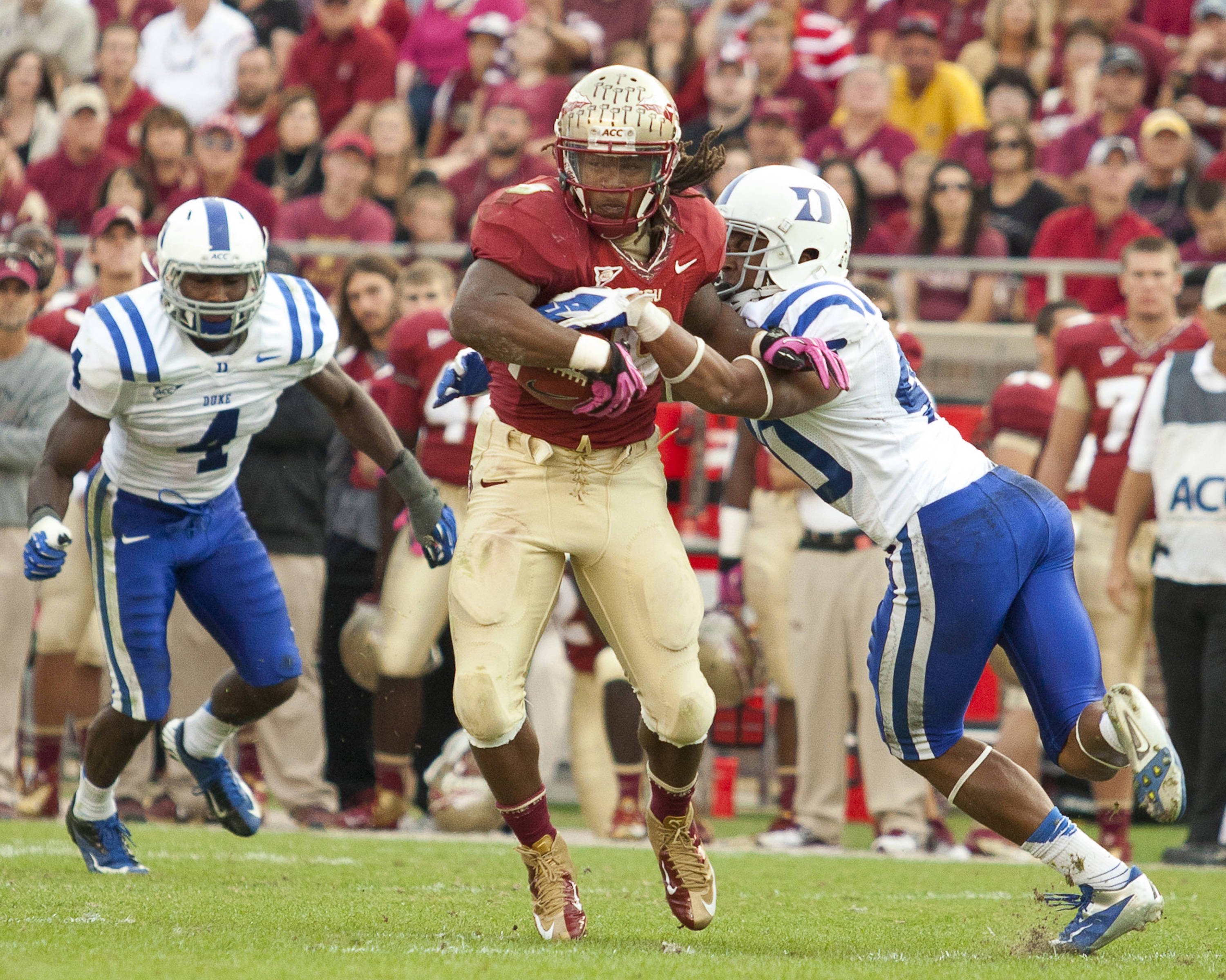 Devonta Freeman (8) carries the ball during FSU's 48-7 victory over Duke on October 27, 2012 in Tallahassee, Fla.