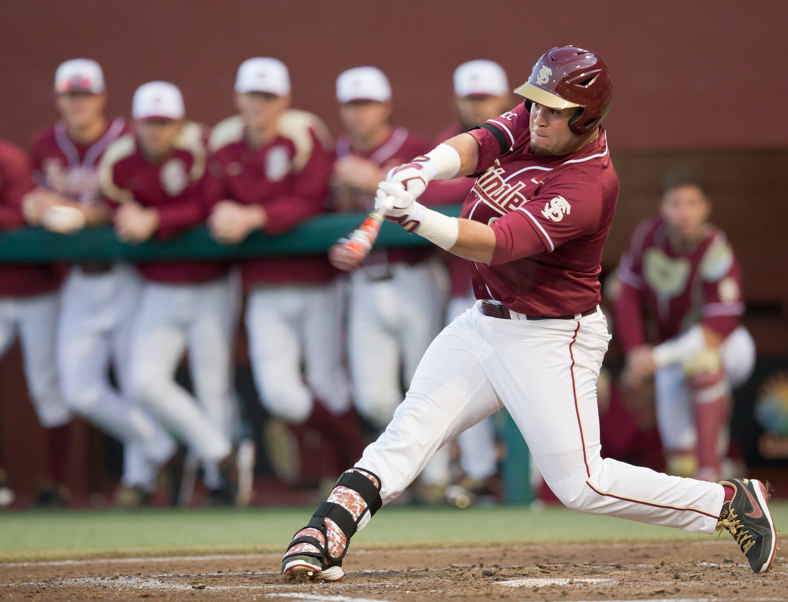 DJ Stewart (8) drove in FSU's 1st run and had 4 hits including 2 doubles.