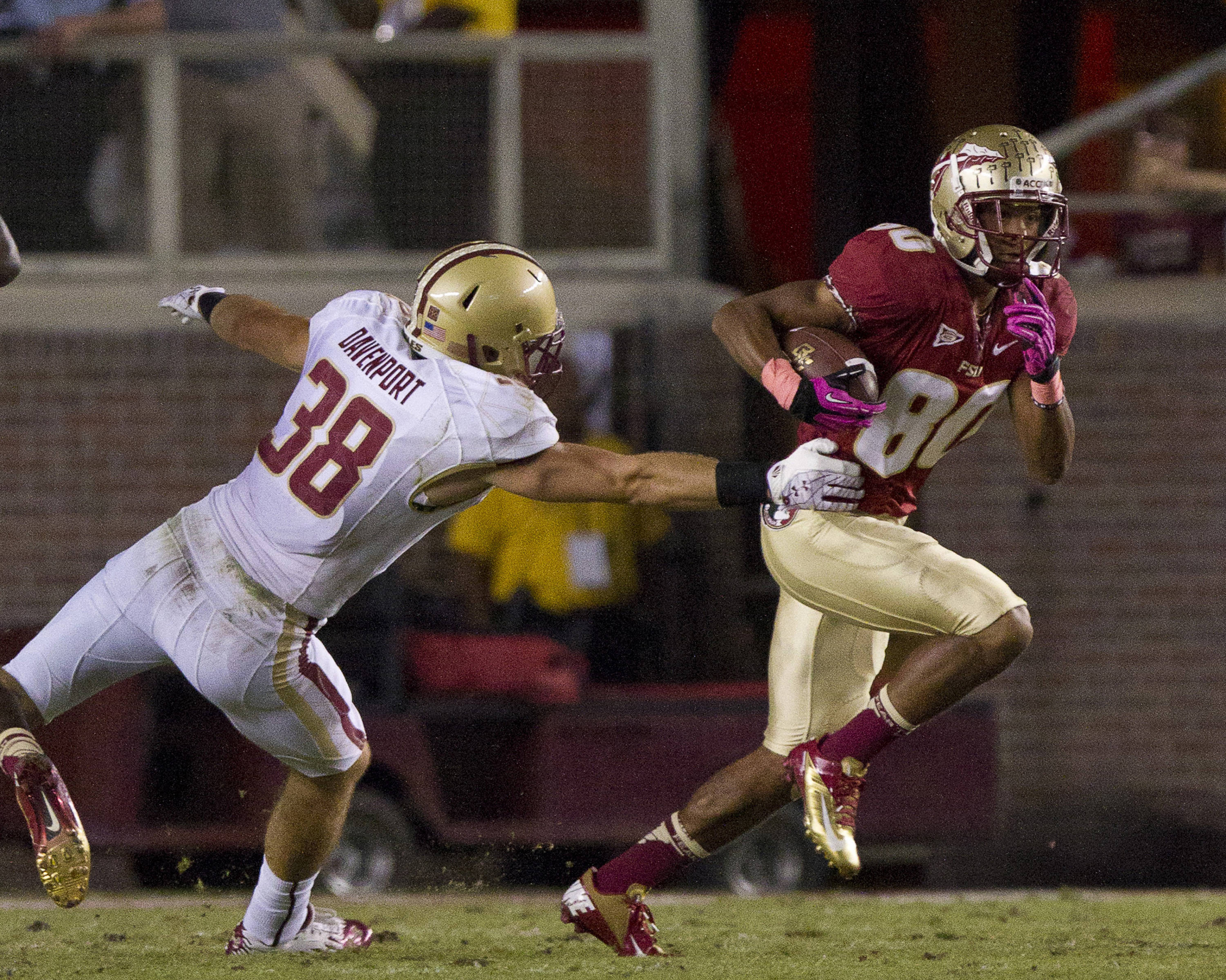 Rashad Greene (80) carries the ball during the FSU vs Boston College football game on October 13, 2012 in Tallahassee, Fla.