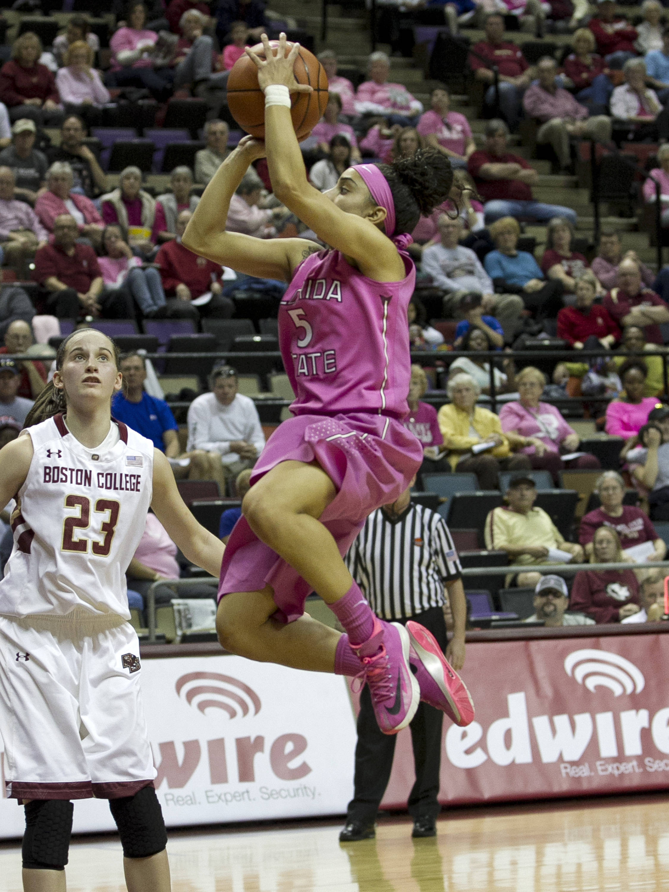 Cheetah Delgado (5) pulls up for a short jumper, FSU vs Boston College, 2-09-14, (Photo's by Steve Musco)