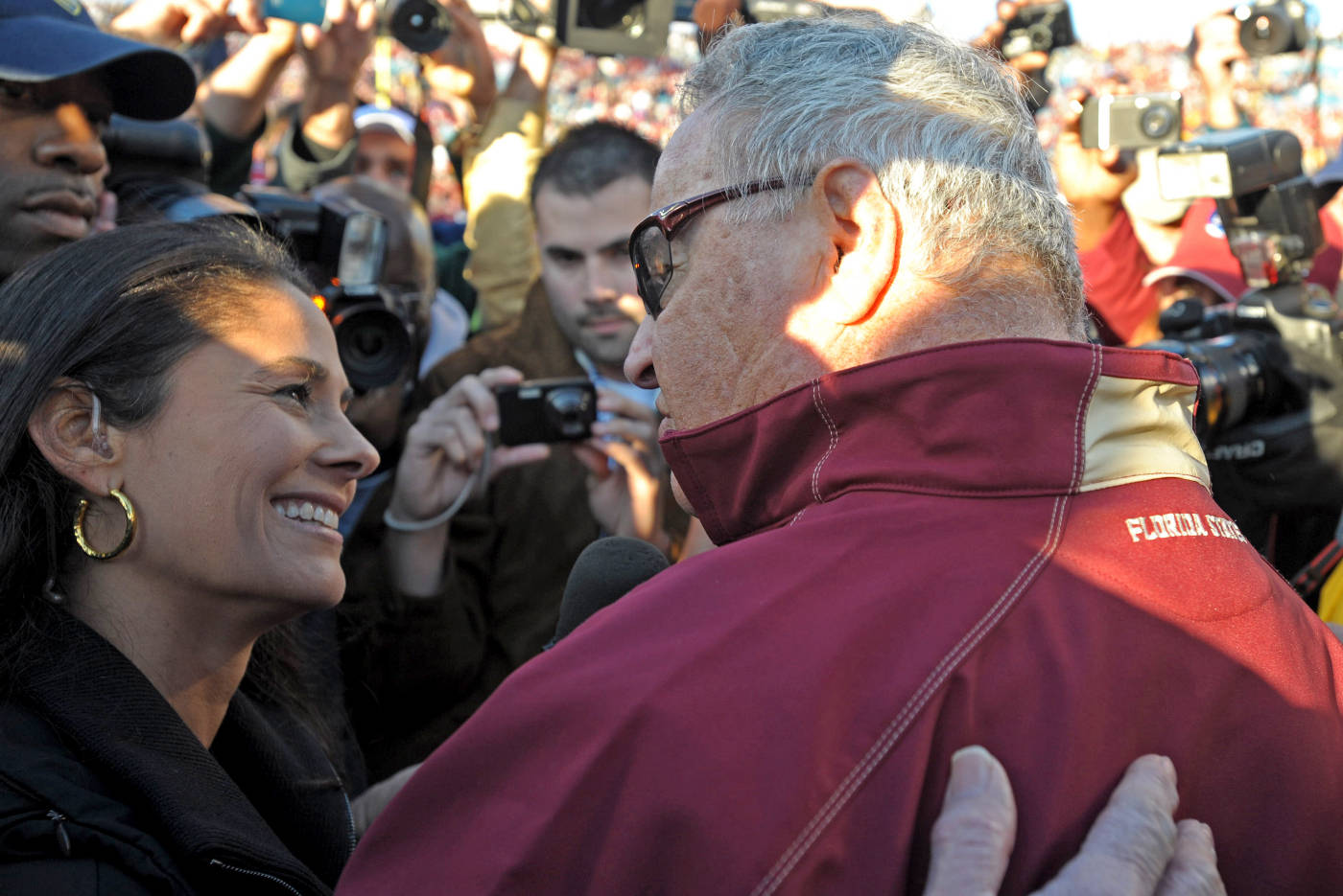 Bobby Bowden interviewed after the game by CBS's Tracy Wolfson