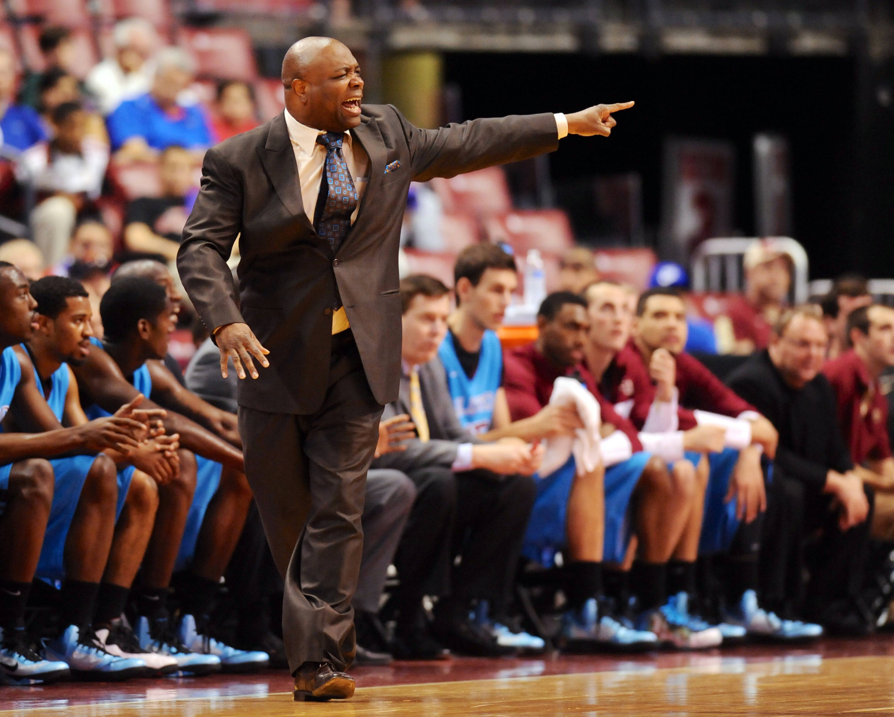 Dec 21, 2013; Sunrise, FL, USA; Florida State Seminoles head coach Leonard Hamilton reacts during the first half against the Massachusetts Minutemen at BB&T Center. Mandatory Credit: Steve Mitchell-USA TODAY Sports