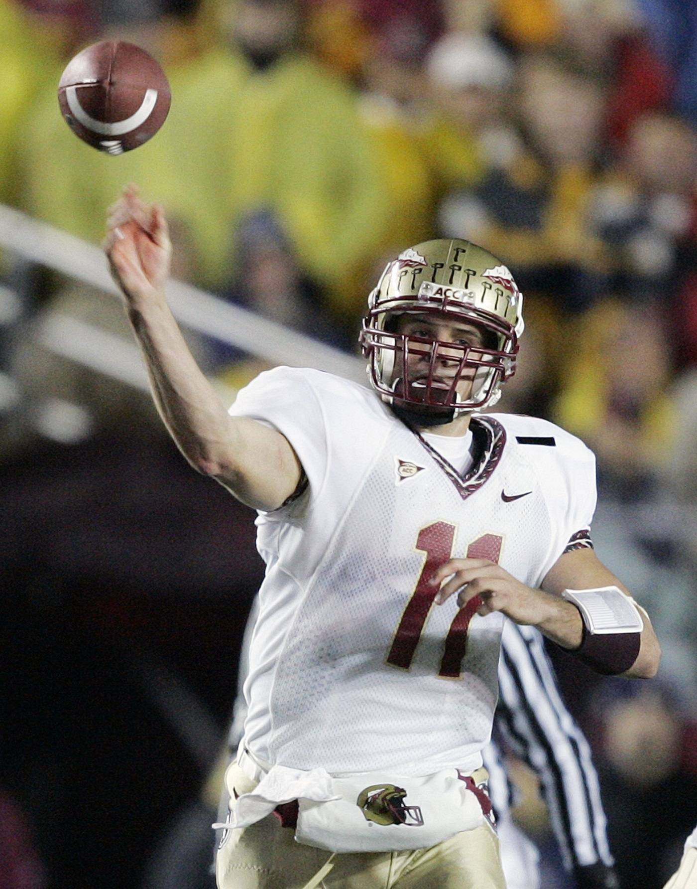 Florida State quarterback Drew Weatherford passes against Boston College in the second quarter of a football game Saturday, Nov. 3, 2007, in Boston. (AP Photo/Michael Dwyer)