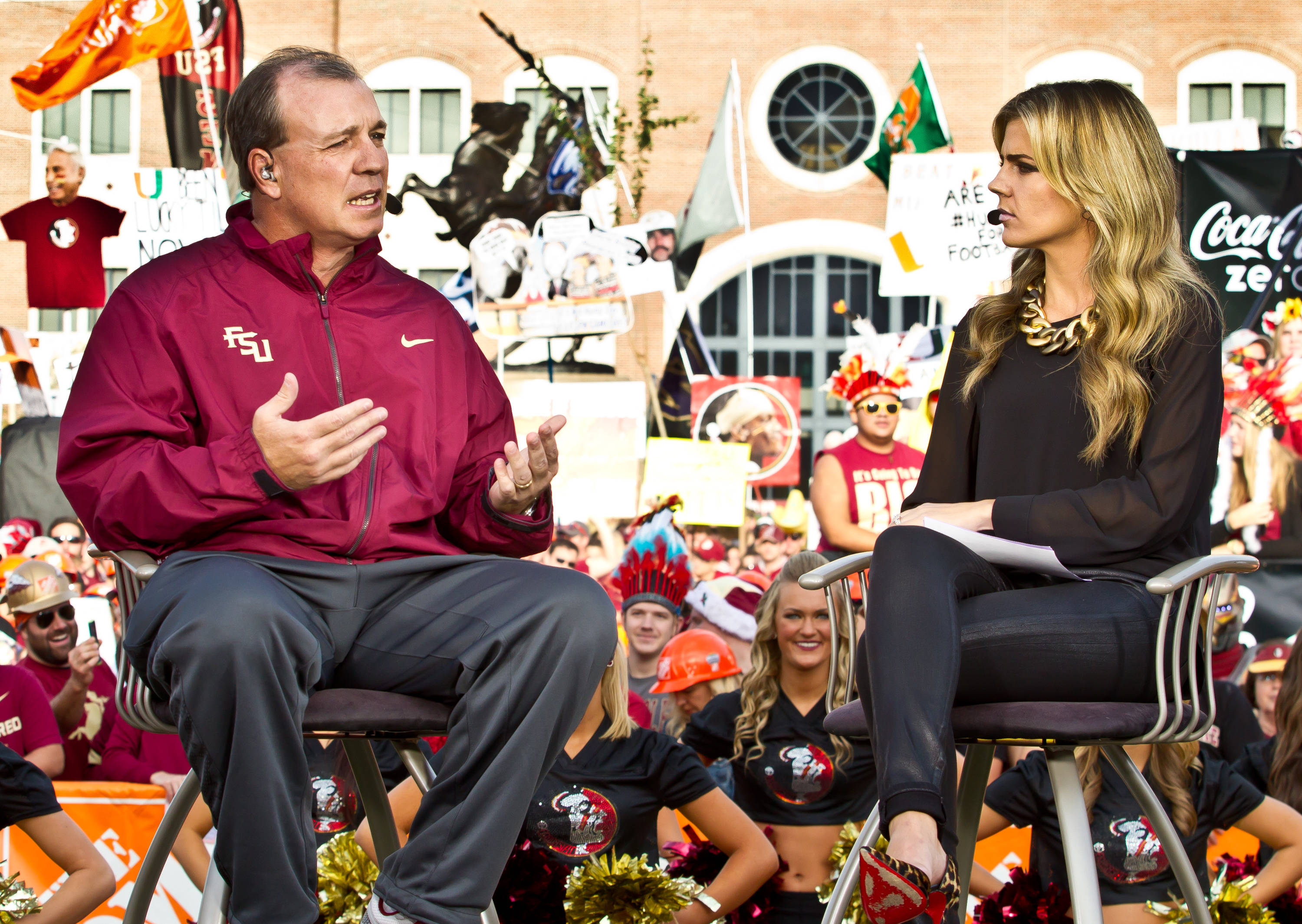 Jimbo Fisher is interviewed by Samantha Ponder on College Game Day.