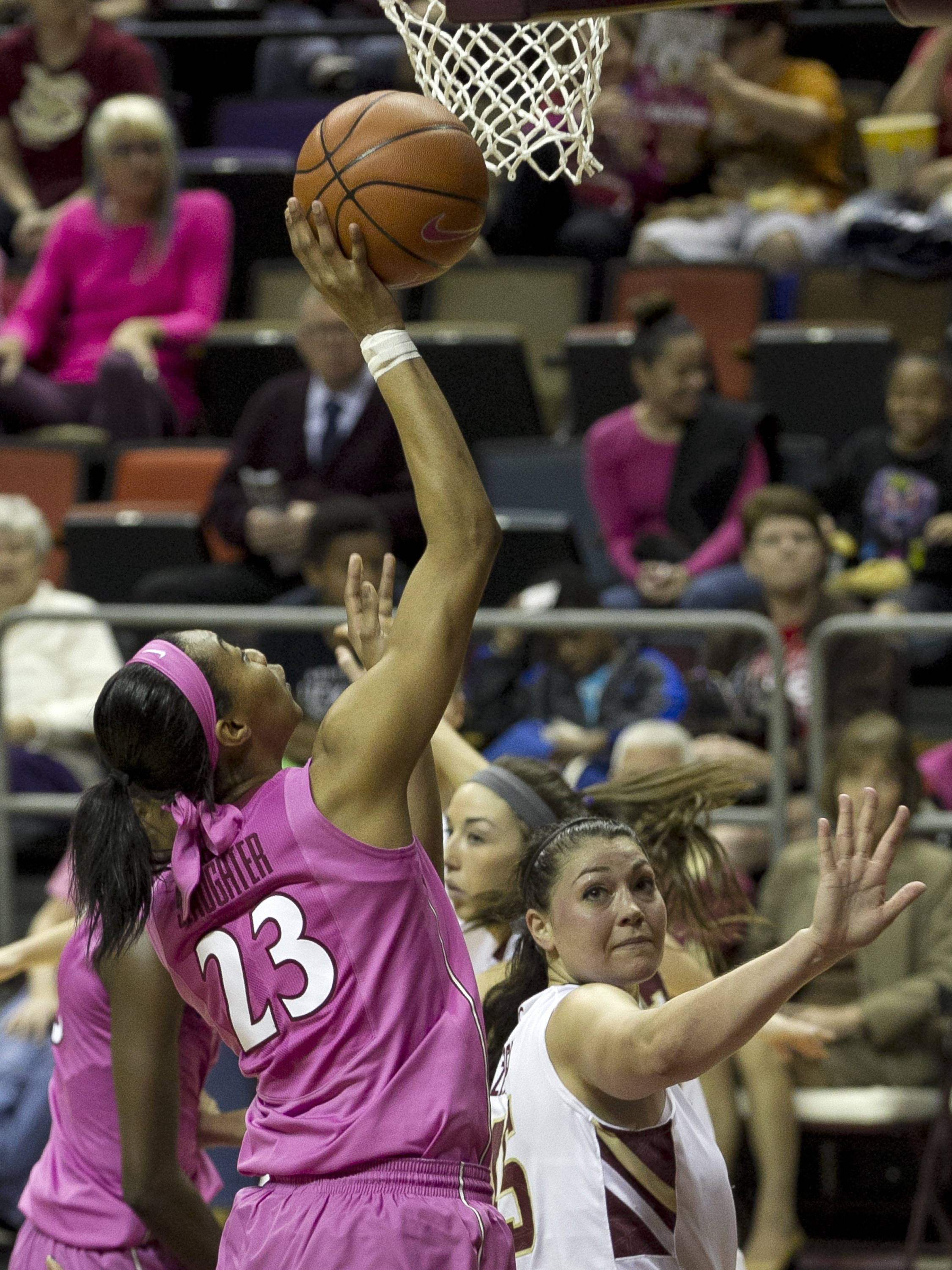 Ivey Slaughter (23) with a put back layup, FSU vs Boston College, 2-09-14, (Photo's by Steve Musco)