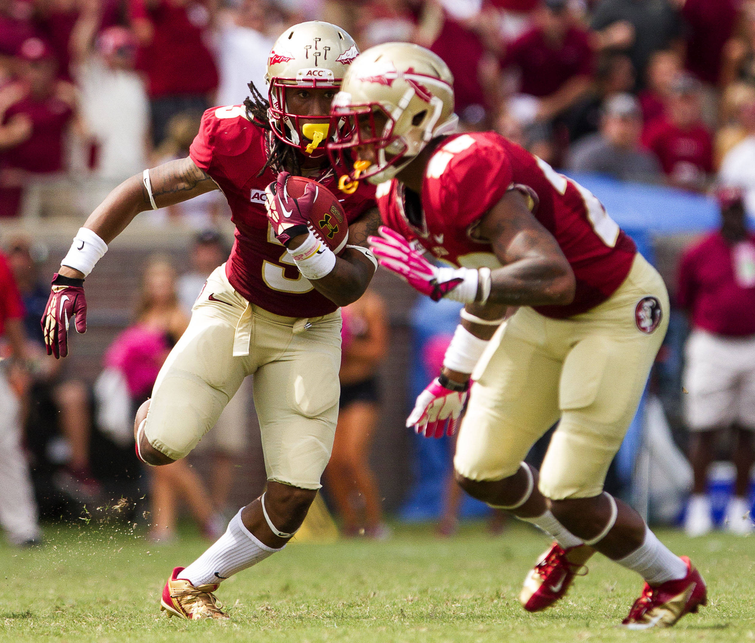 Jesus Wilson (3) runs the ball during FSU Football's 63-0 shutout of Maryland on Saturday, October 5, 2013 in Tallahassee, Fla.