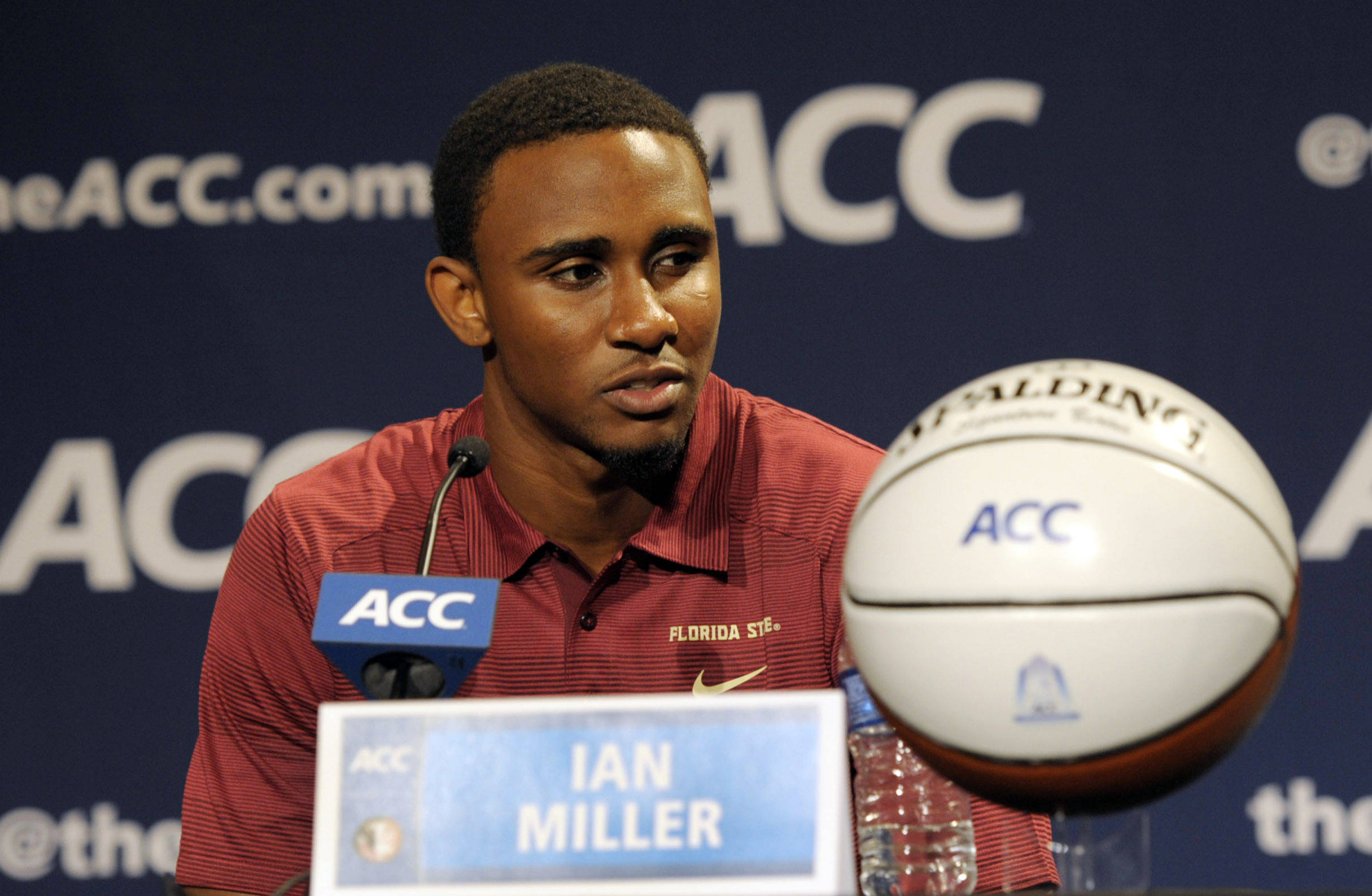 Florida State Seminoles guard Ian Miller addresses the media during the ACC basketball media day at The Ritz-Carlton. (Sam Sharpe-USA TODAY Sports)