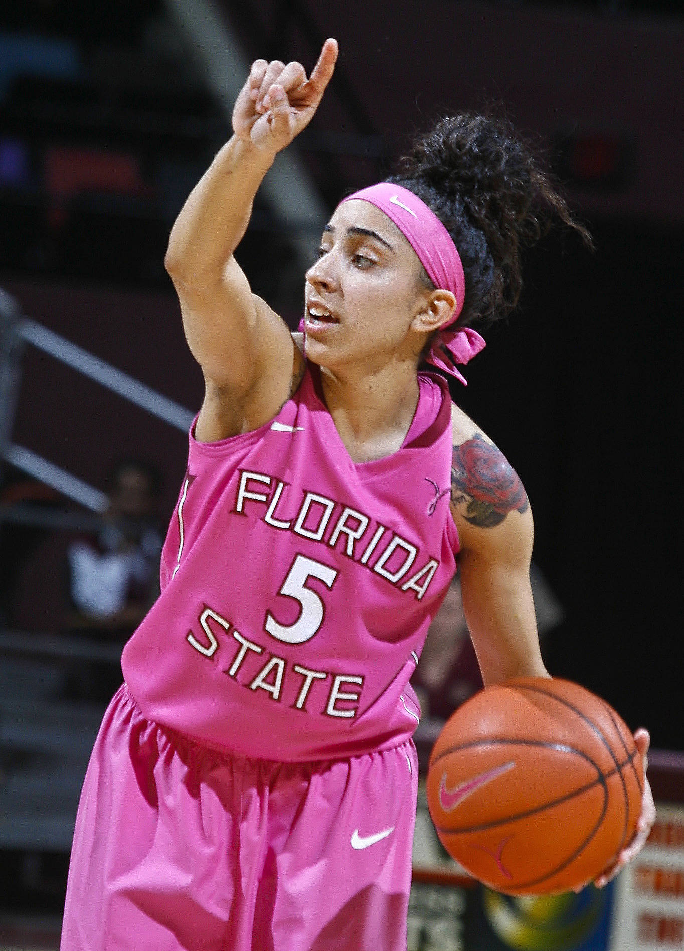 Florida State Seminoles guard Cheetah Delgado (5) dribbles the ball in the second half against the Boston College Eagles. Mandatory Credit: Phil Sears-USA TODAY Sports