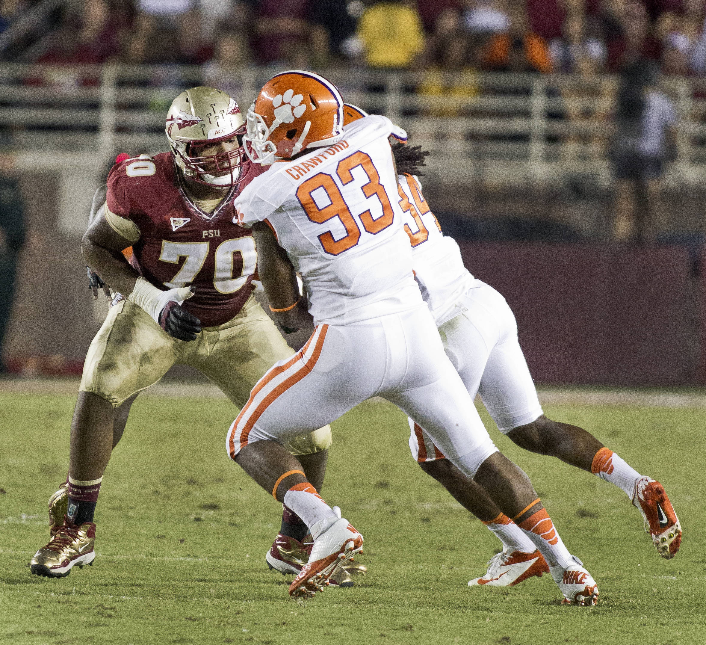 Josue Matias (70) taking on a rusher, FSU vs Clemson, 9/22/12 (Photo by Steve Musco)