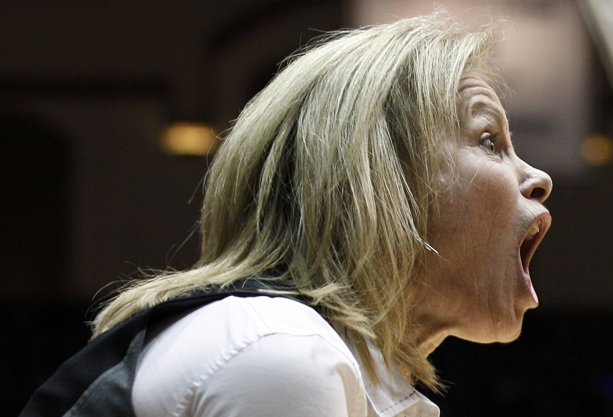 Florida State coach Sue Semrau yells at at official during the first half. (AP Photo/Gerry Broome)