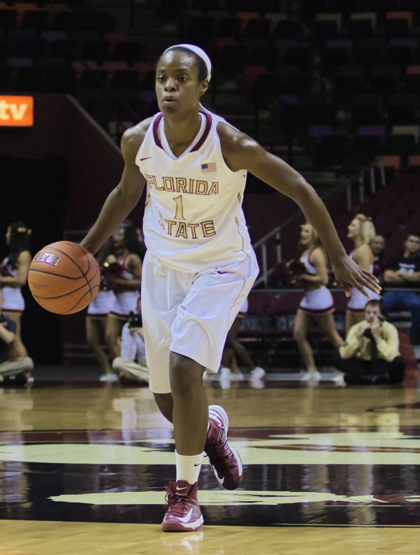 Morgan Toles (1), FSU vs Iowa, 11/28/12. (Photo by Steve Musco)