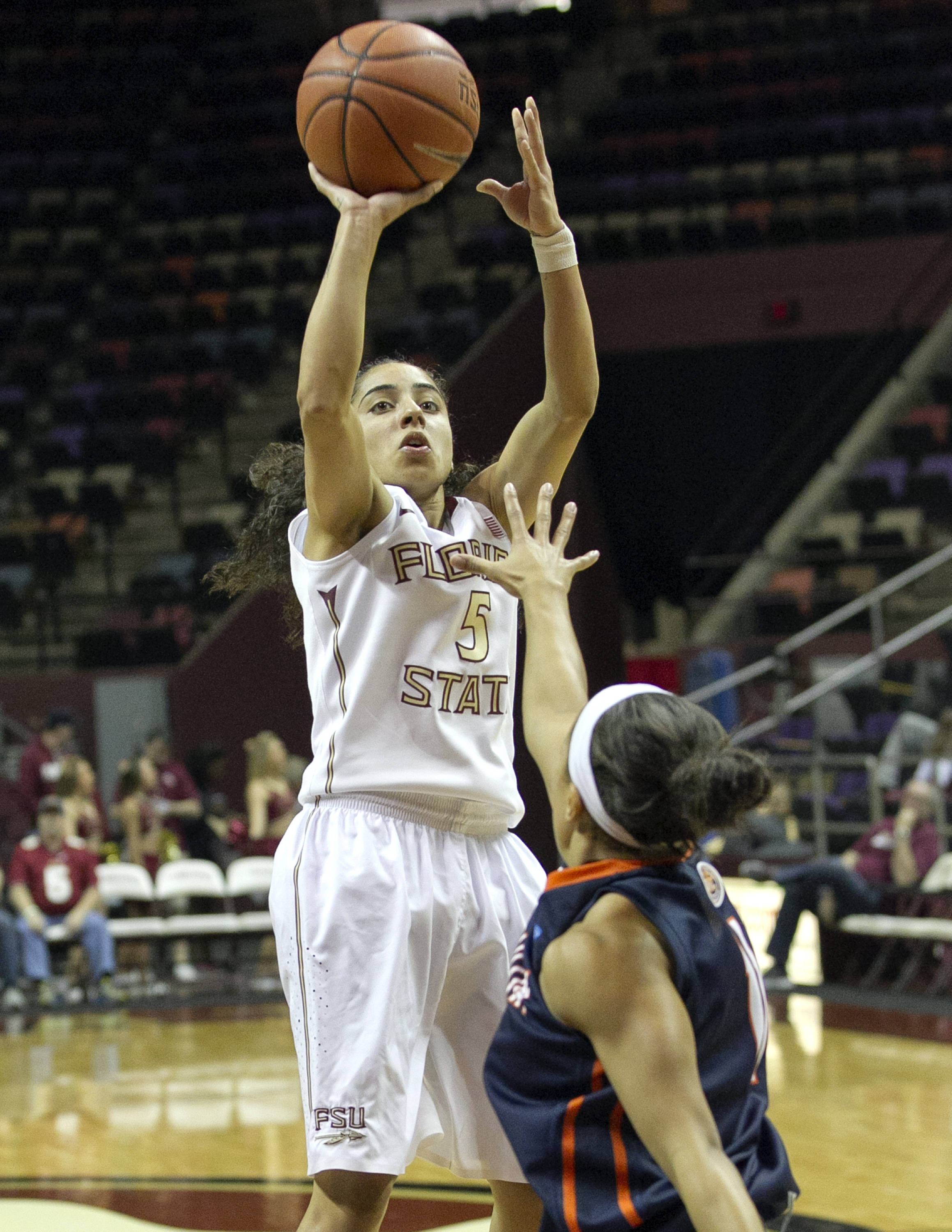 Cheetah Delgado (5) with a jumper, FSU vs UT Martin, 12-28-13,  (Photo by Steve Musco)