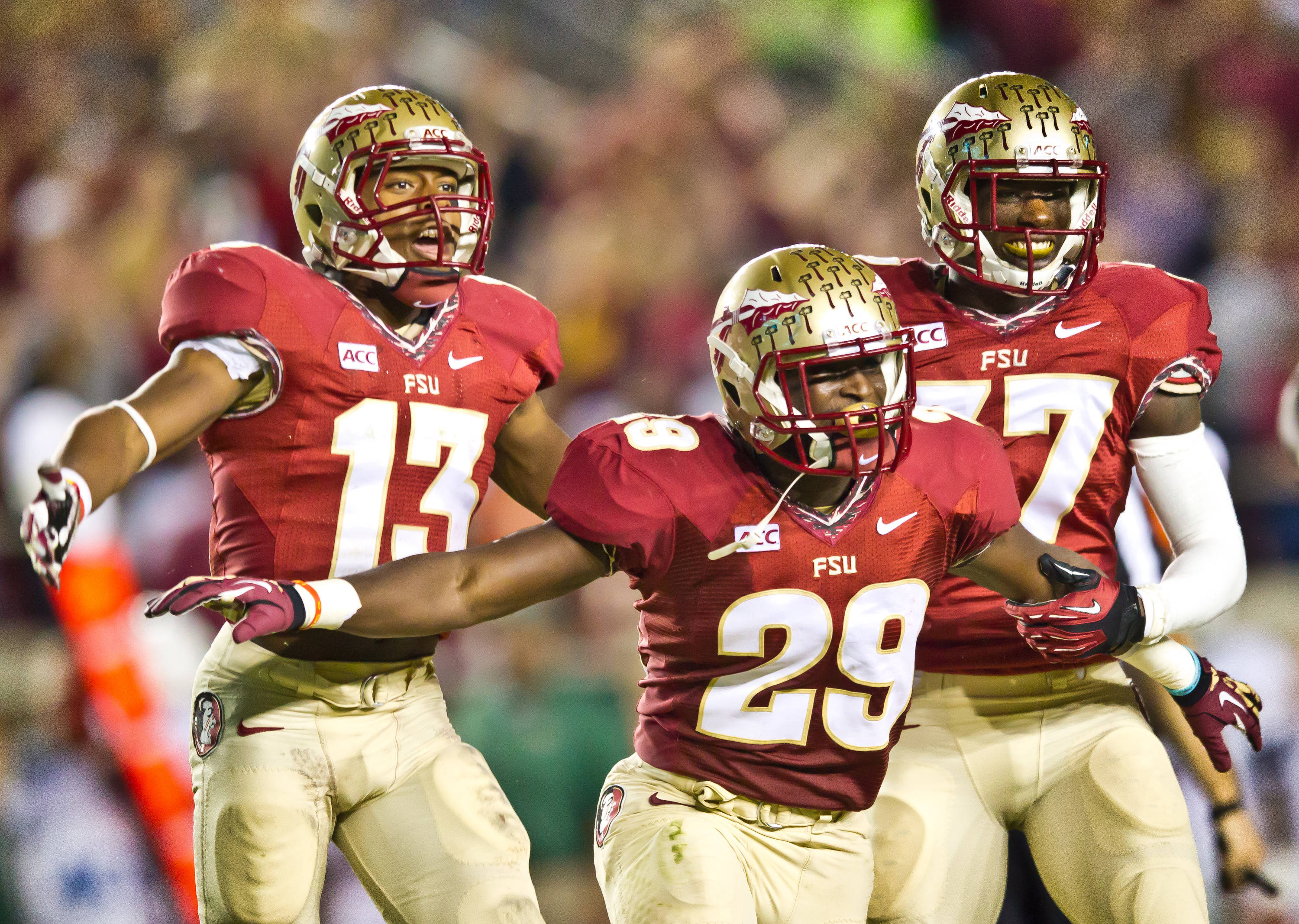 Nate Andrews (29) interception.  Jalen Ramsey (13) & Keelin Smith (37) celebrate with Andrews as they leave the field.