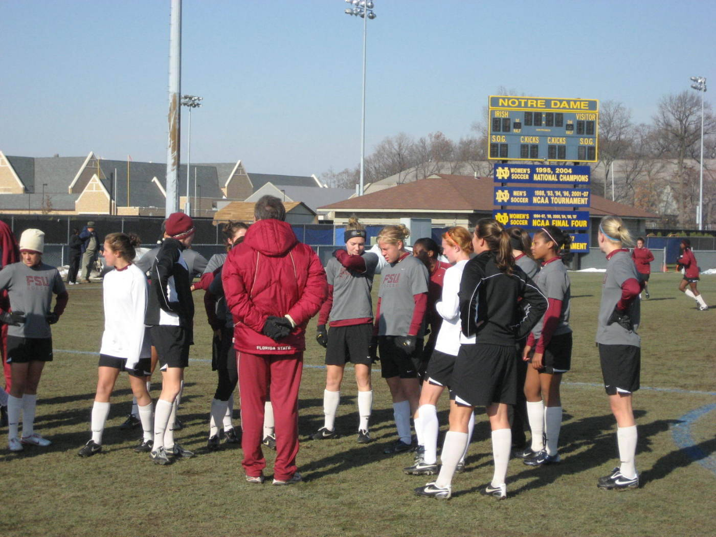 Training day on Thursday in South Bend. Head coach Mark Krikorian addresses the team before the start of practice.