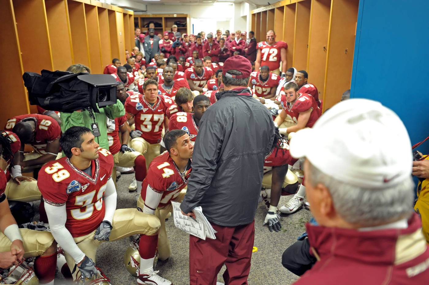 Jimbo Fisher addresses the team before the game
