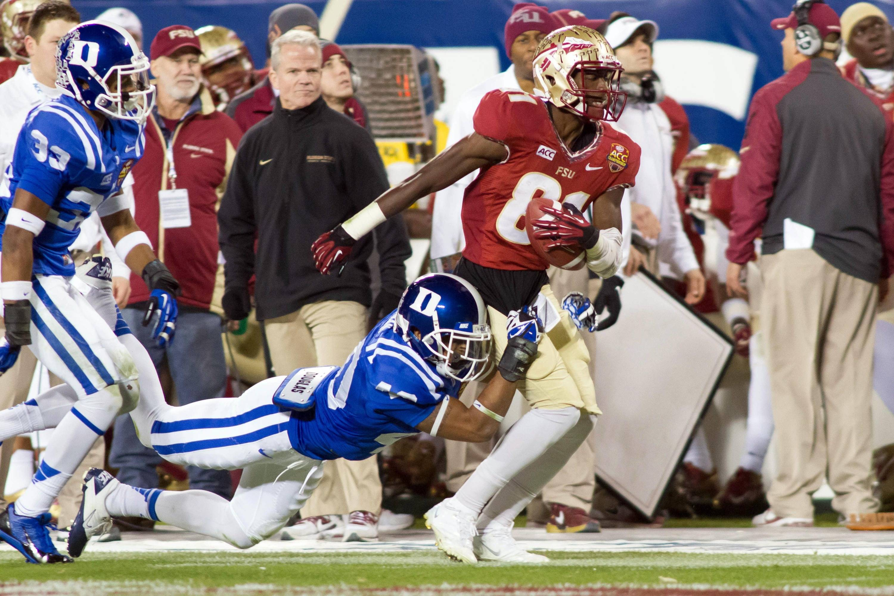 Dec 7, 2013; Charlotte, NC, USA; Florida State Seminoles wide receiver Kenny Shaw (81) runs after making a catch during the third quarter against the Duke Blue Devils at Bank of America Stadium. FSU defeated Duke 45-7. Mandatory Credit: Jeremy Brevard-USA TODAY Sports