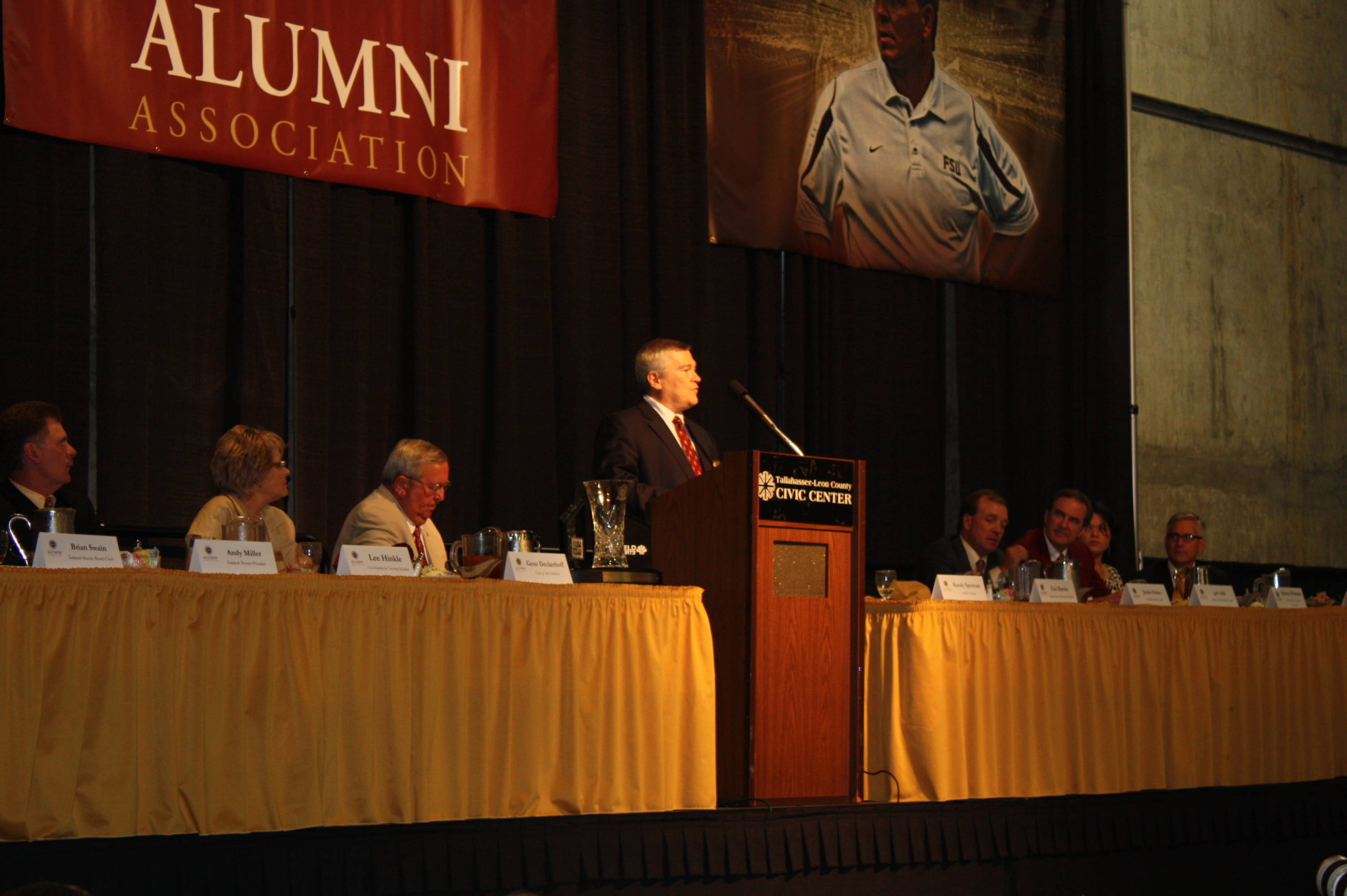 Florida State University President Dr. Eric J. Barron addresses the crowd