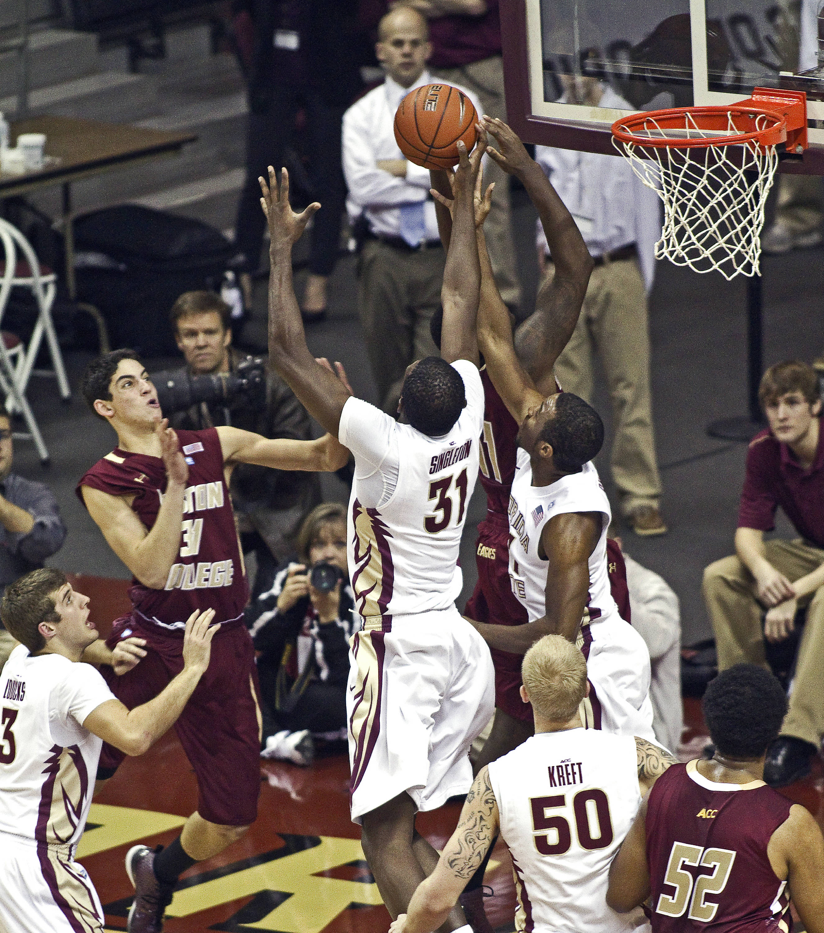 FSU vs Boston College - 01/22/11 - Chris Singleton (31), Michael Snaer (21), Jon Kreft (50), Luke Loucks (3)