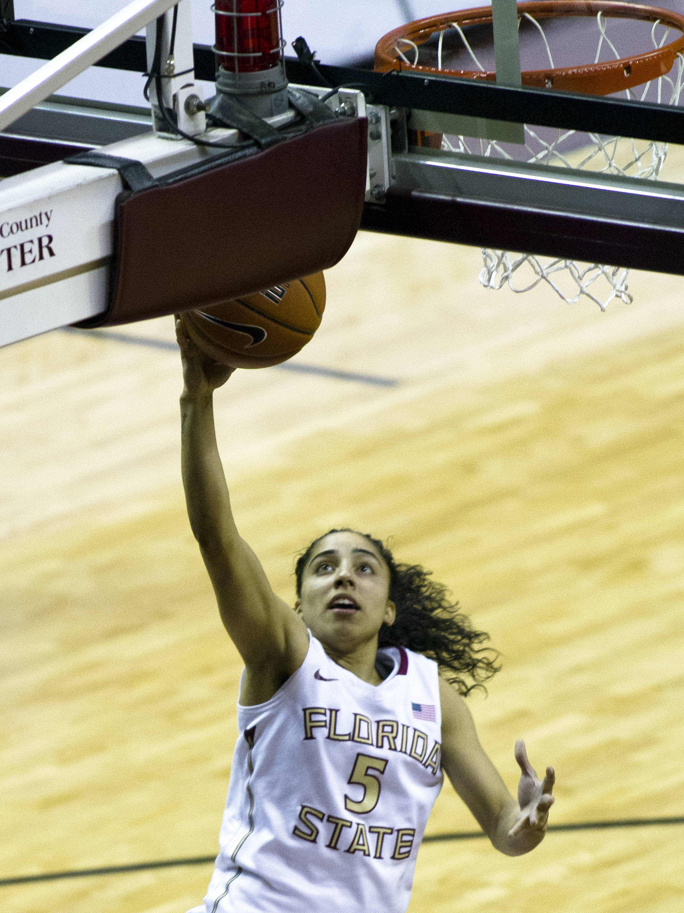 Cheetah Delgado (5), FSU vs Maryland, 02/28/13. (Photo by Steve Musco)