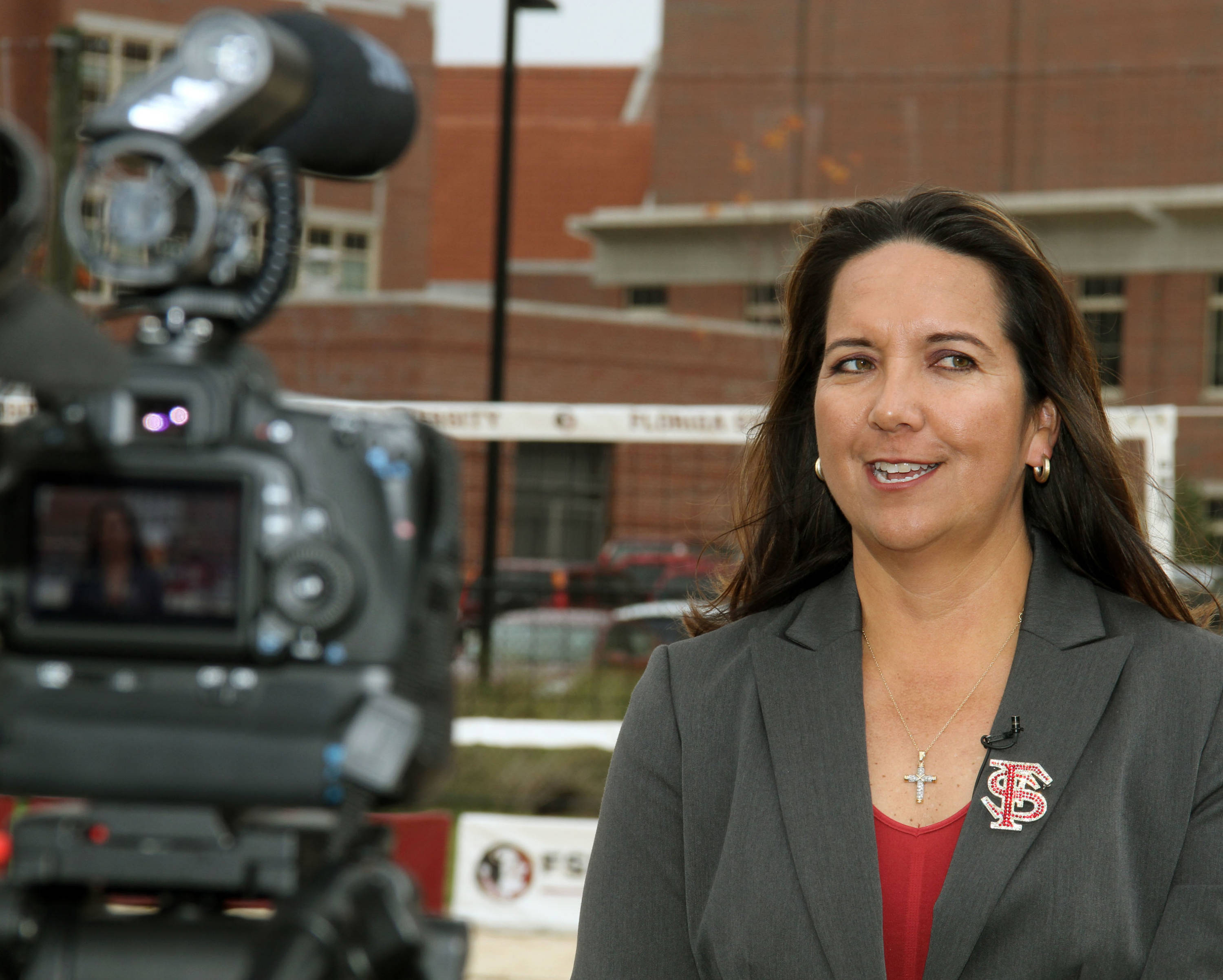 Sand Volleyball Ribbon Cutting Ceremony on January 20, 2012 on the FSU Campus Danalee Corso does an interview.