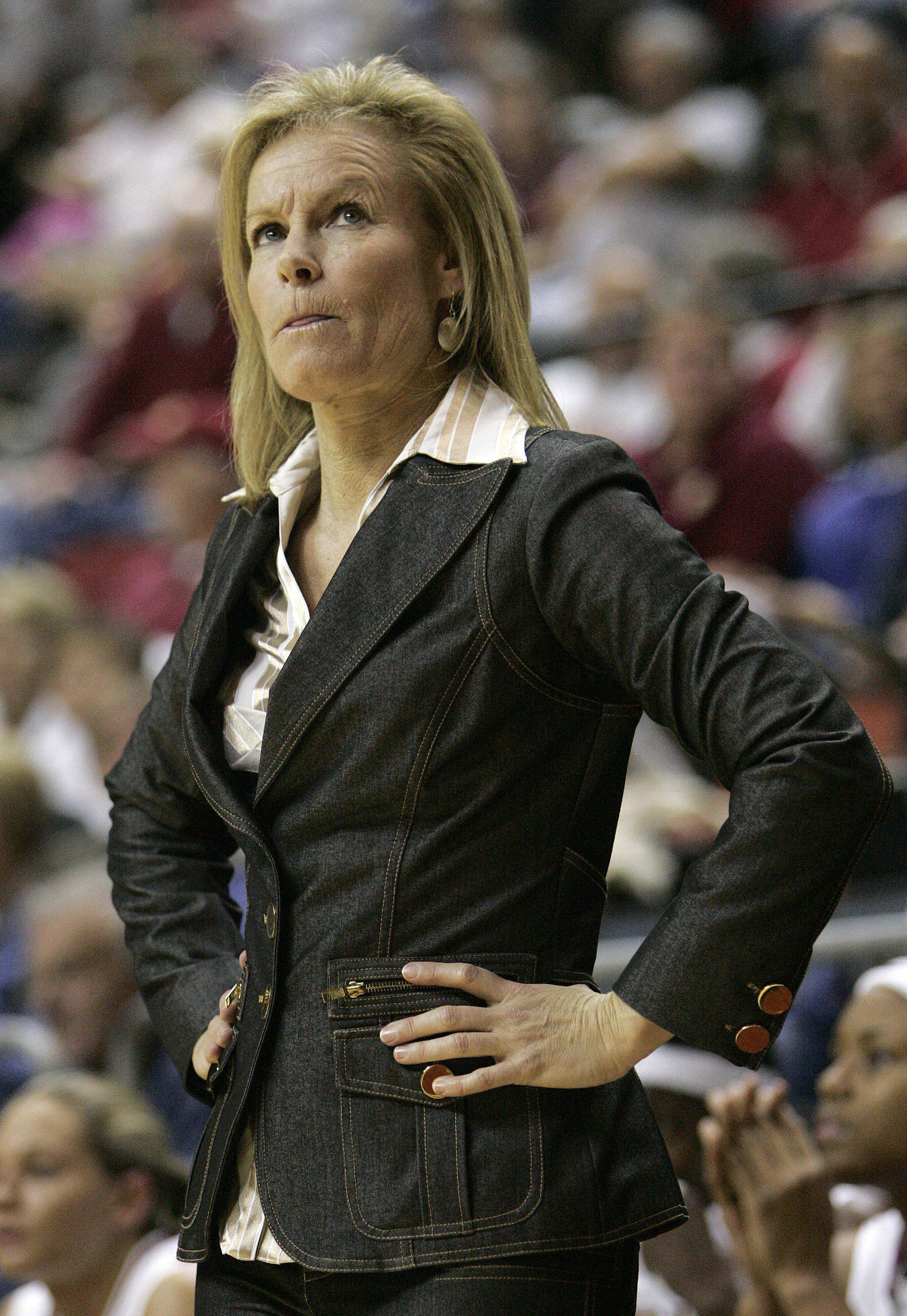 Florida State head coach Sue Semrau looks toward the scoreboard in the second half of an NCAA college basketball game against Maryland on Monday, Jan. 2, 2012 in Tallahassee, Fla. Maryland won 91-70. (AP Photo/Steve Cannon)