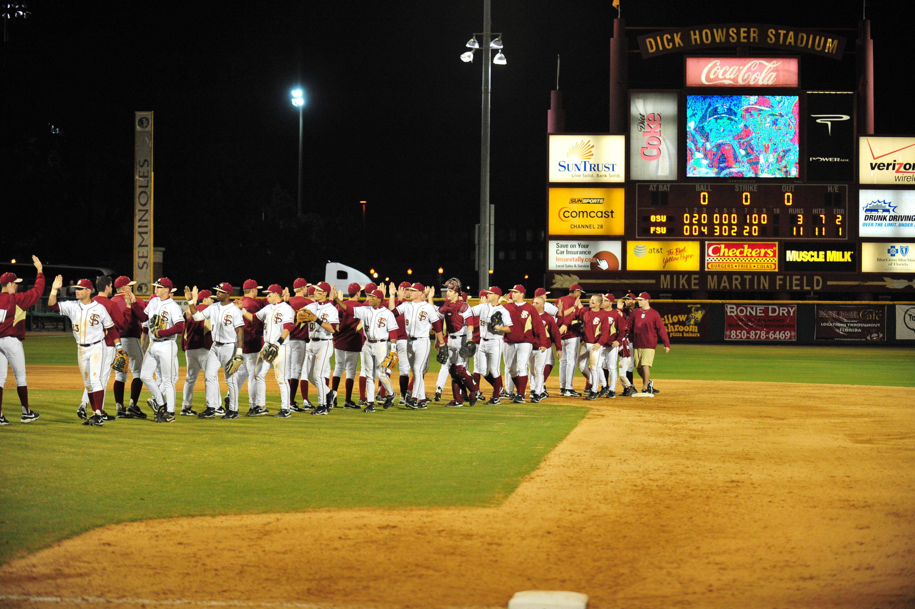 The Seminoles celebrate after an opening day victory over Georgia State.