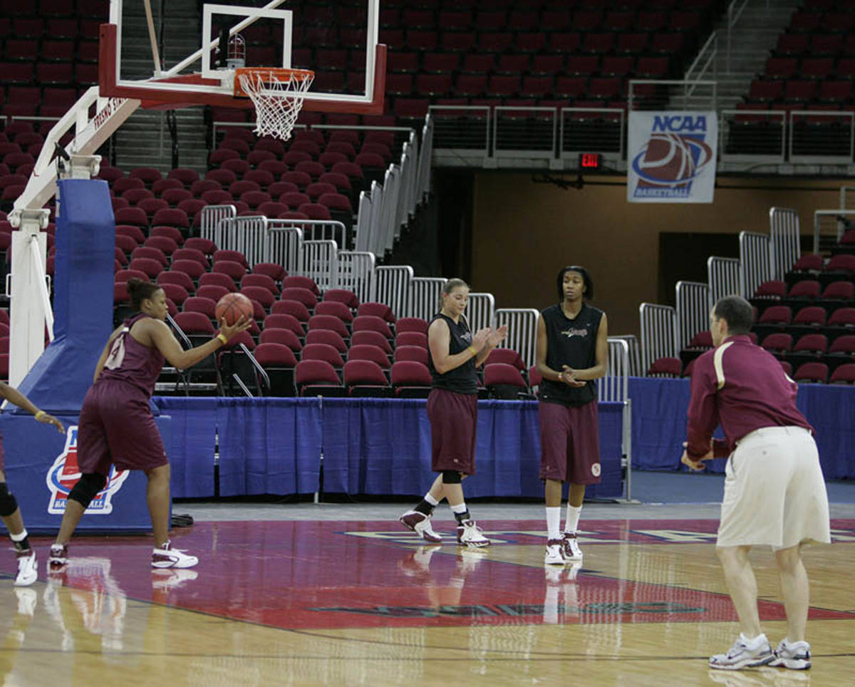 Practice at the Save Mart Center.