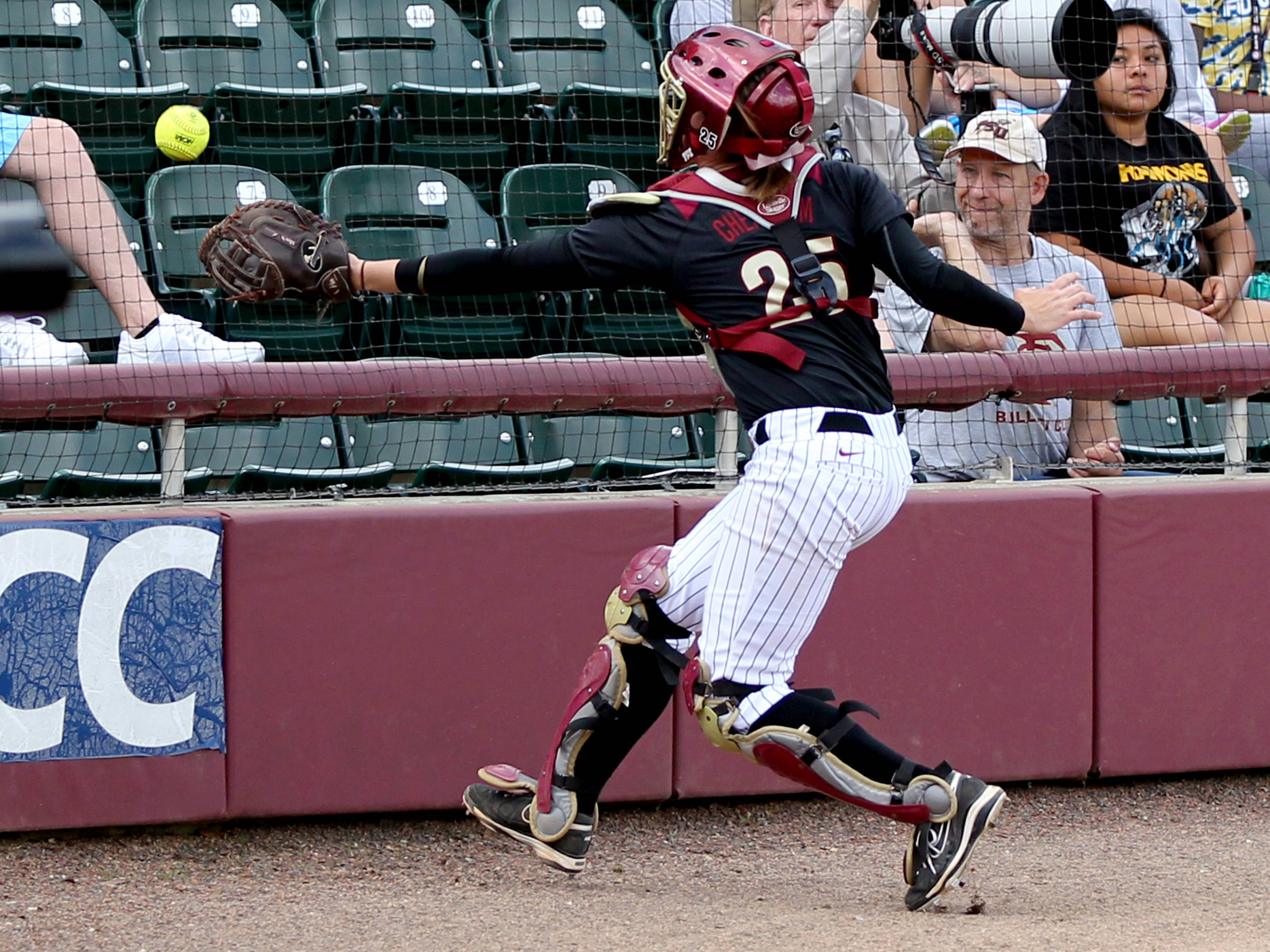 Macey Cheatham (25), FSU vs BC, 04/07/13 . (Photo by Steve Musco)