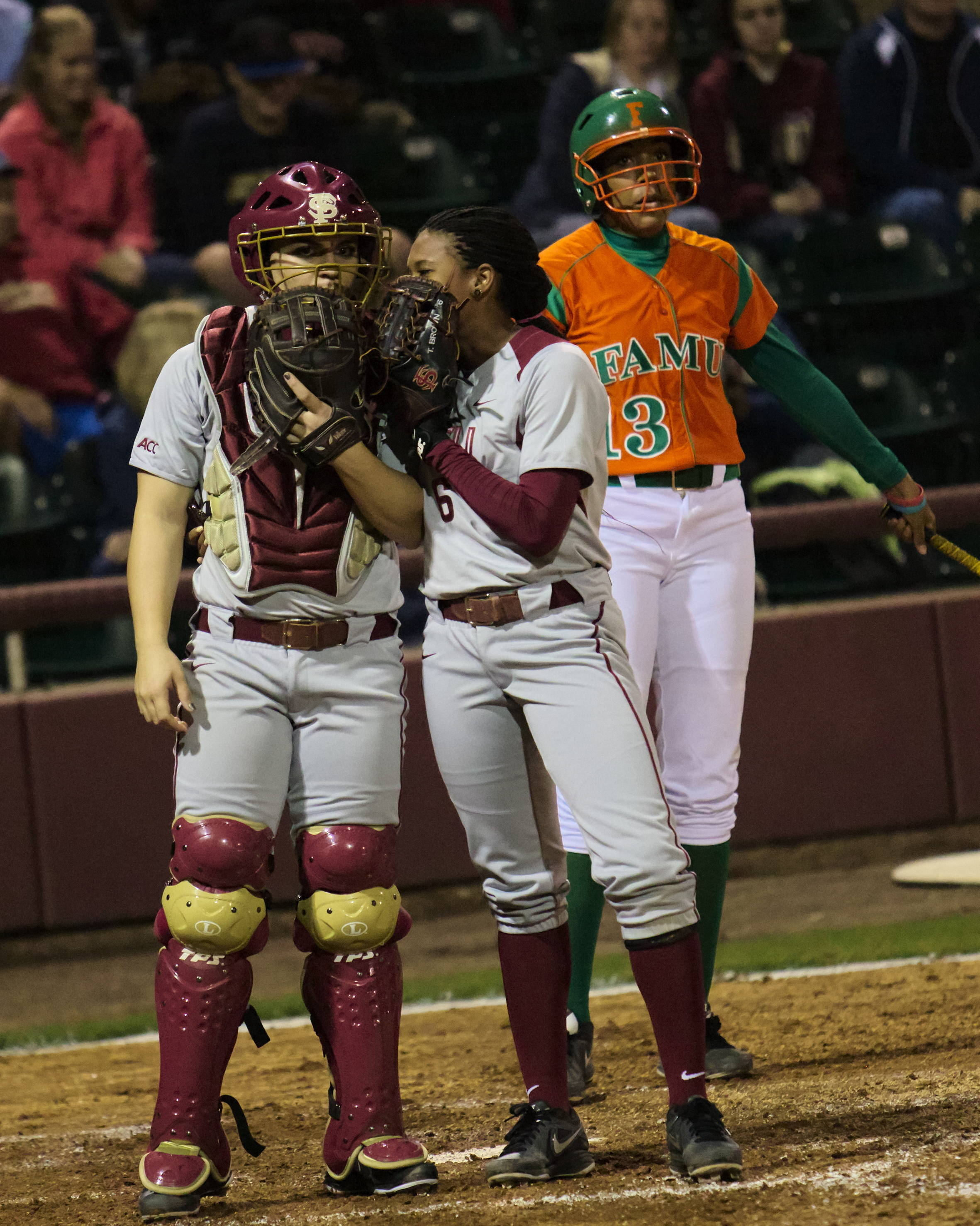 Celeste Gomez (00) and Tiffani Brown (6) working on defensive alignments, FSU vs FAMU, 02/08/13. (Photo by Steve Musco)