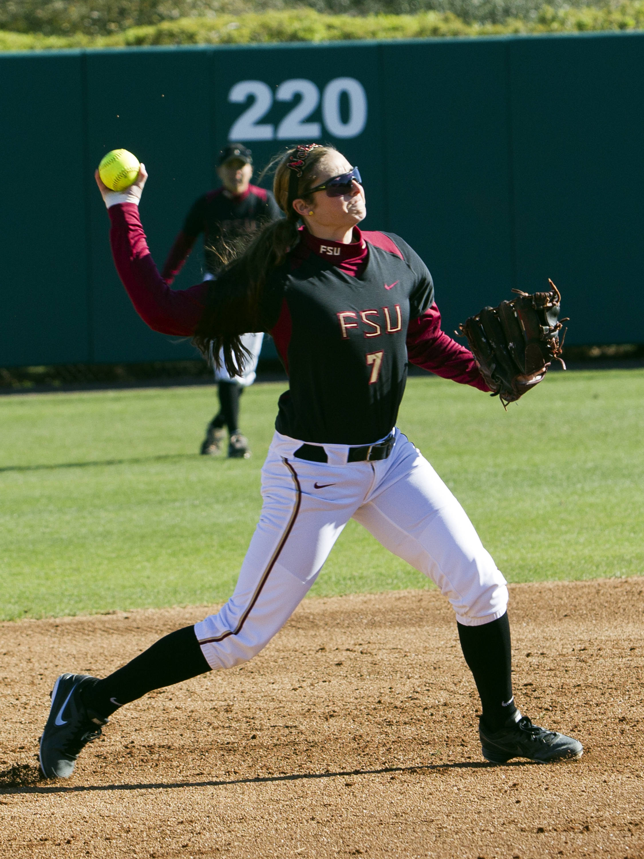 Maddie O'Brien (7), FSU vs Tulsa, 02/17/13. (Photo by Steve Musco)
