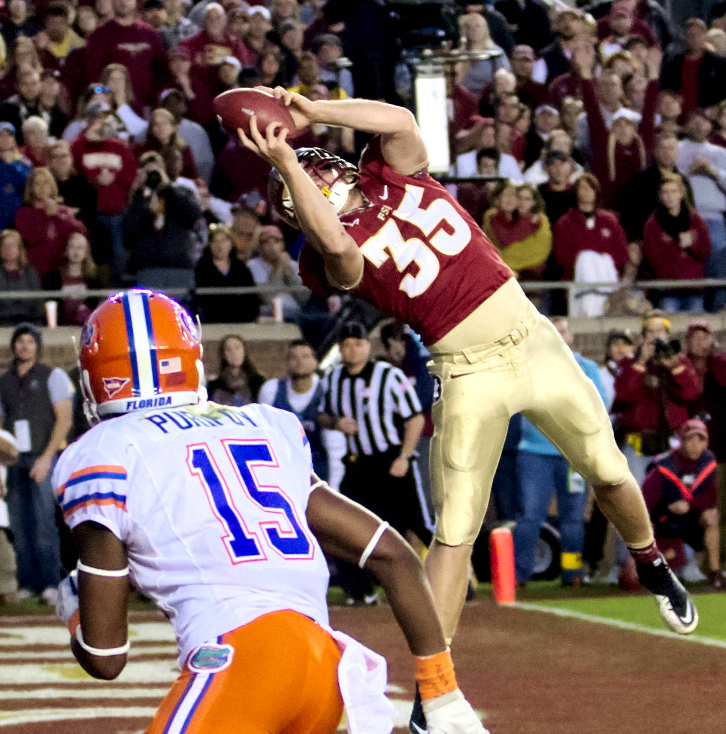 Nick O'Leary (35), FSU vs Florida, 11/24/12. (Photo by Steve Musco)